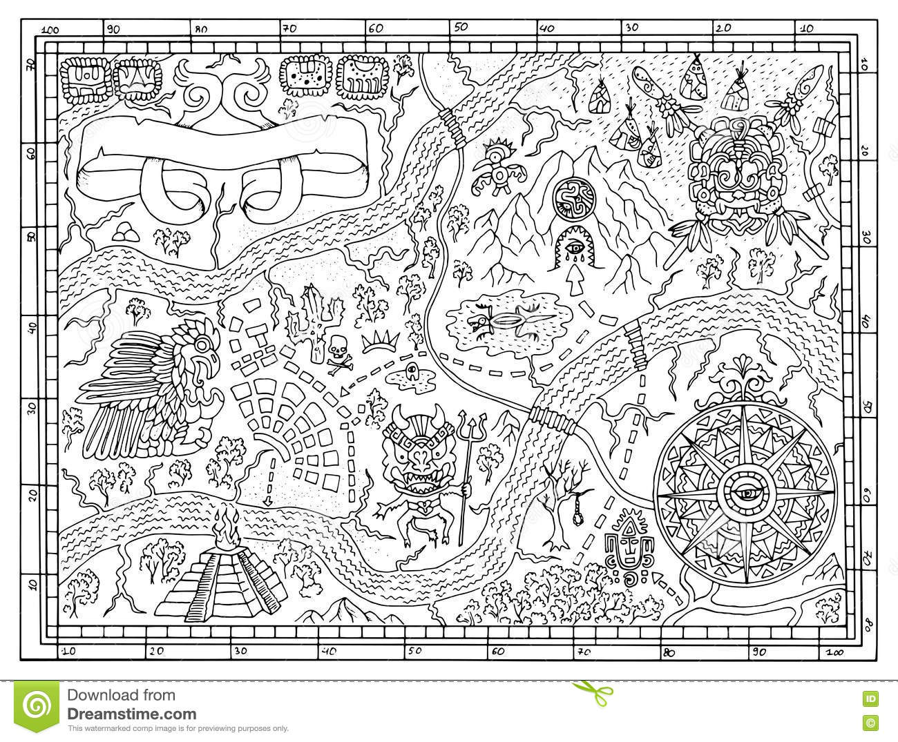 Ancient Mayan Map In Treasure Hunt Concept Stock Vector