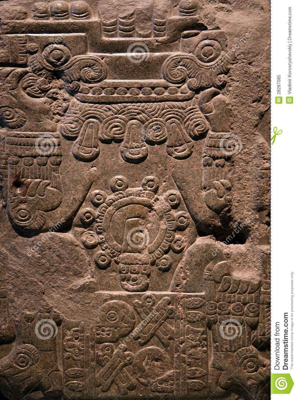 Ancient mayan stone carving stock image of human