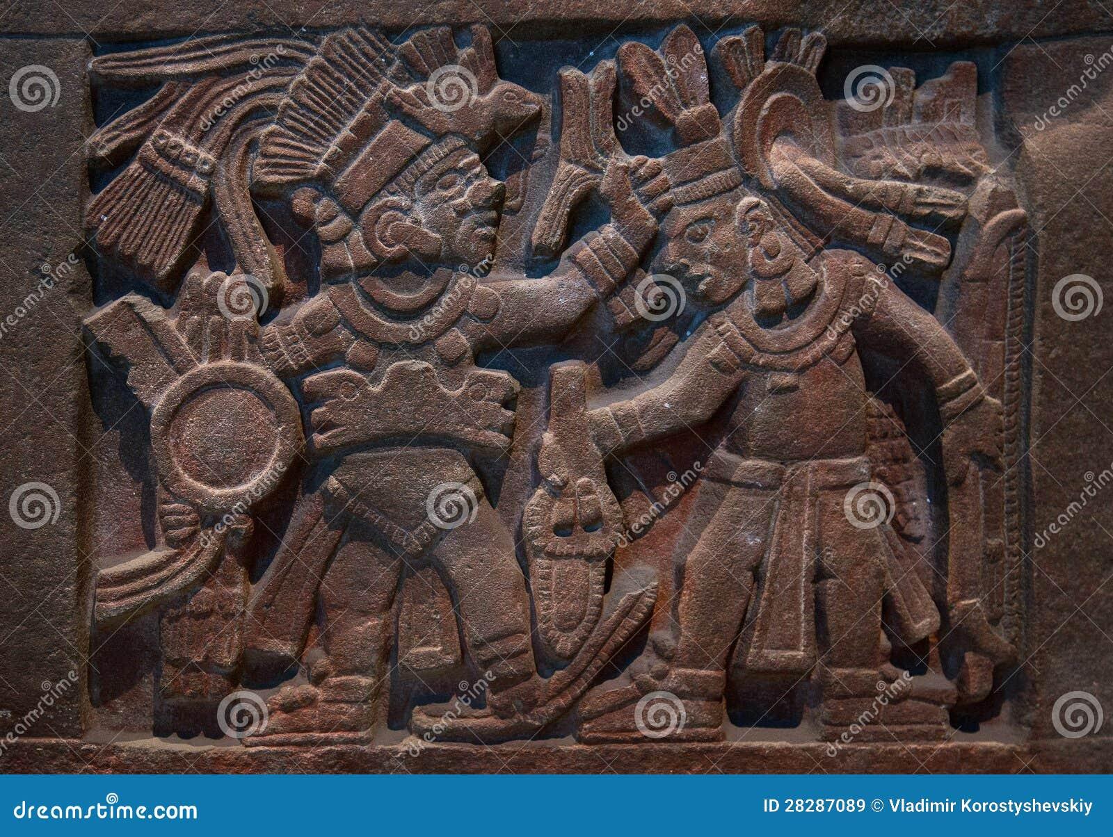 Ancient mayan stone carving royalty free stock photo