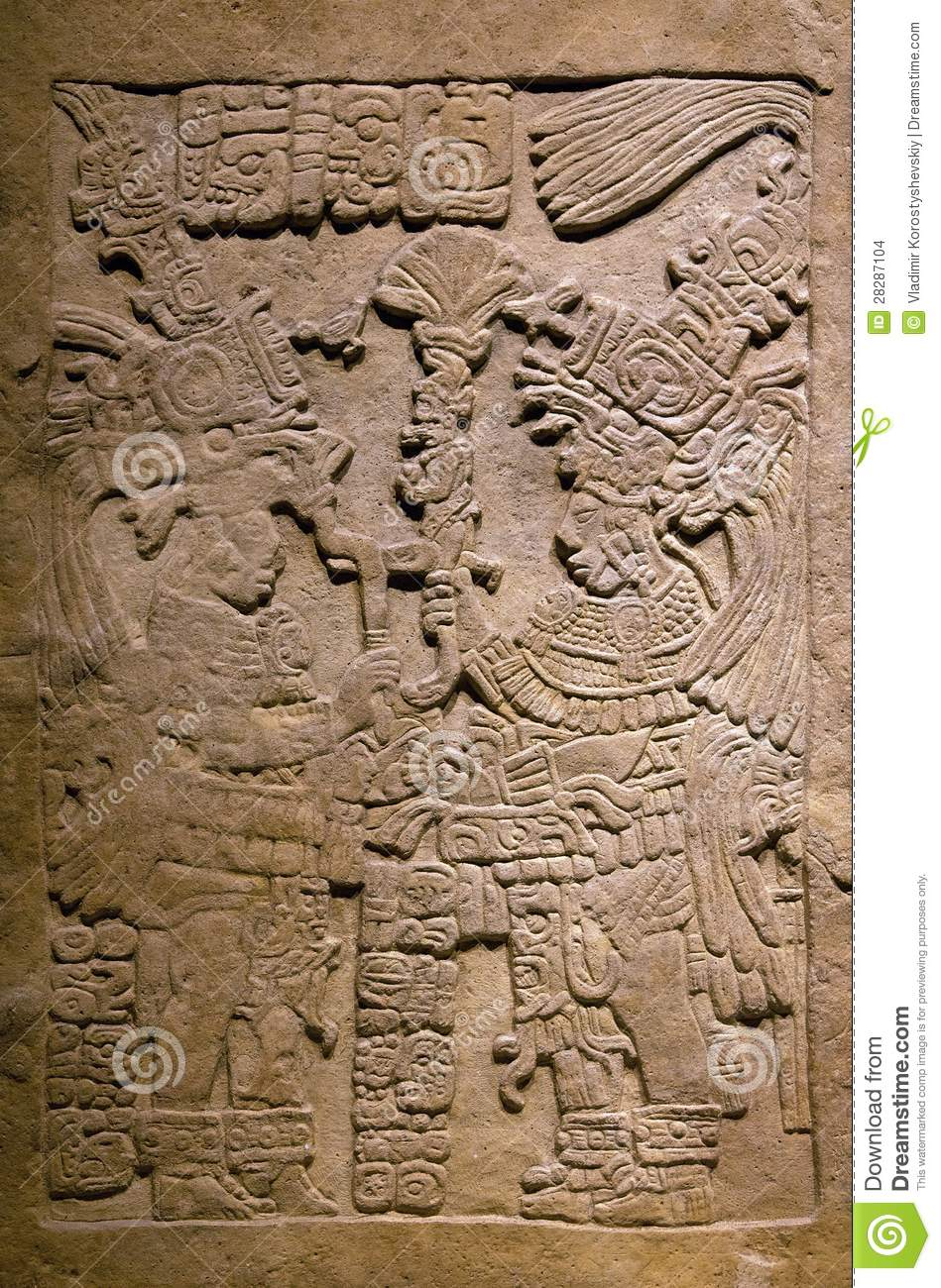 Ancient mayan stone carving stock images image