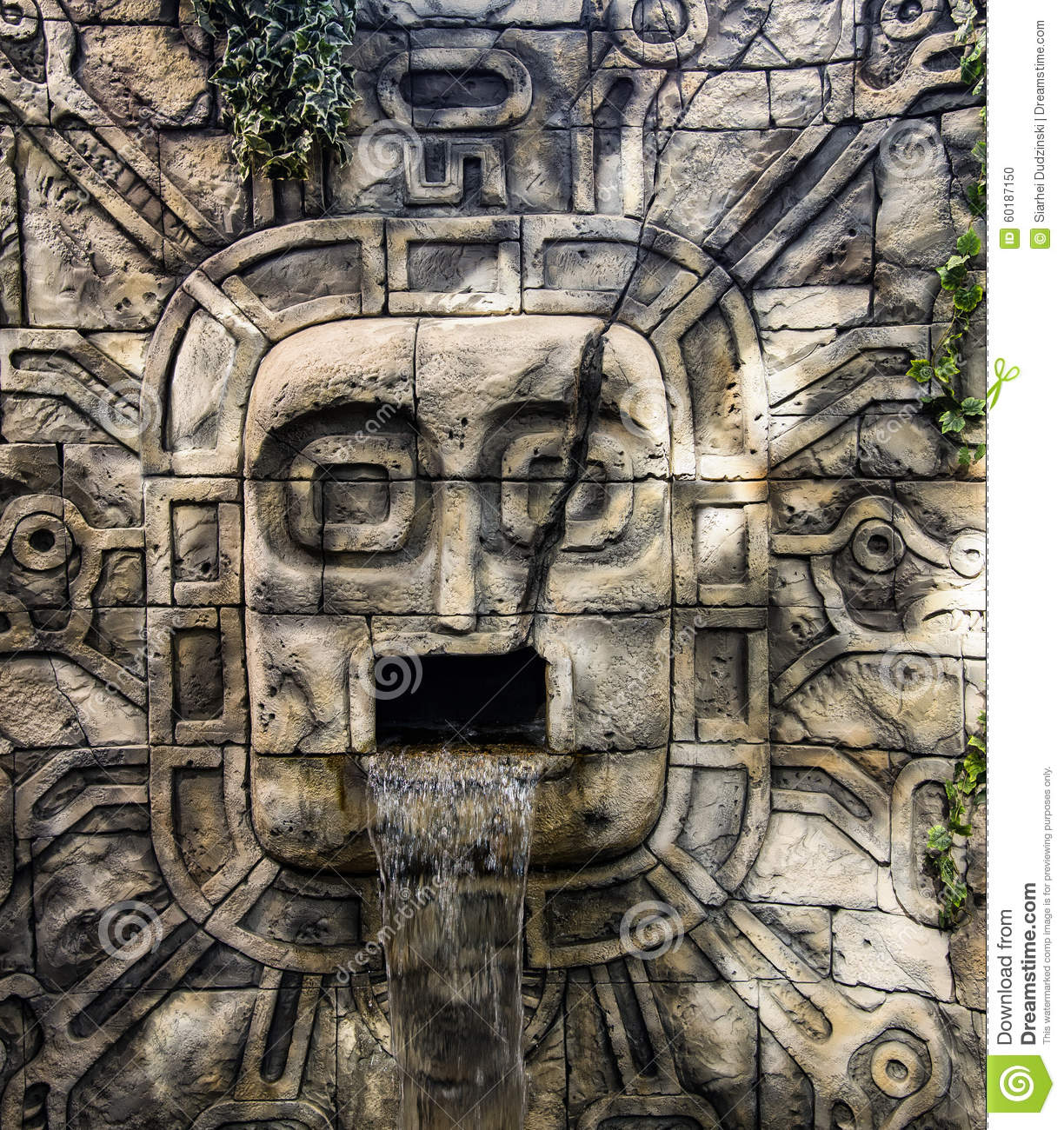 Ancient mayan waterfall carved royalty free stock image