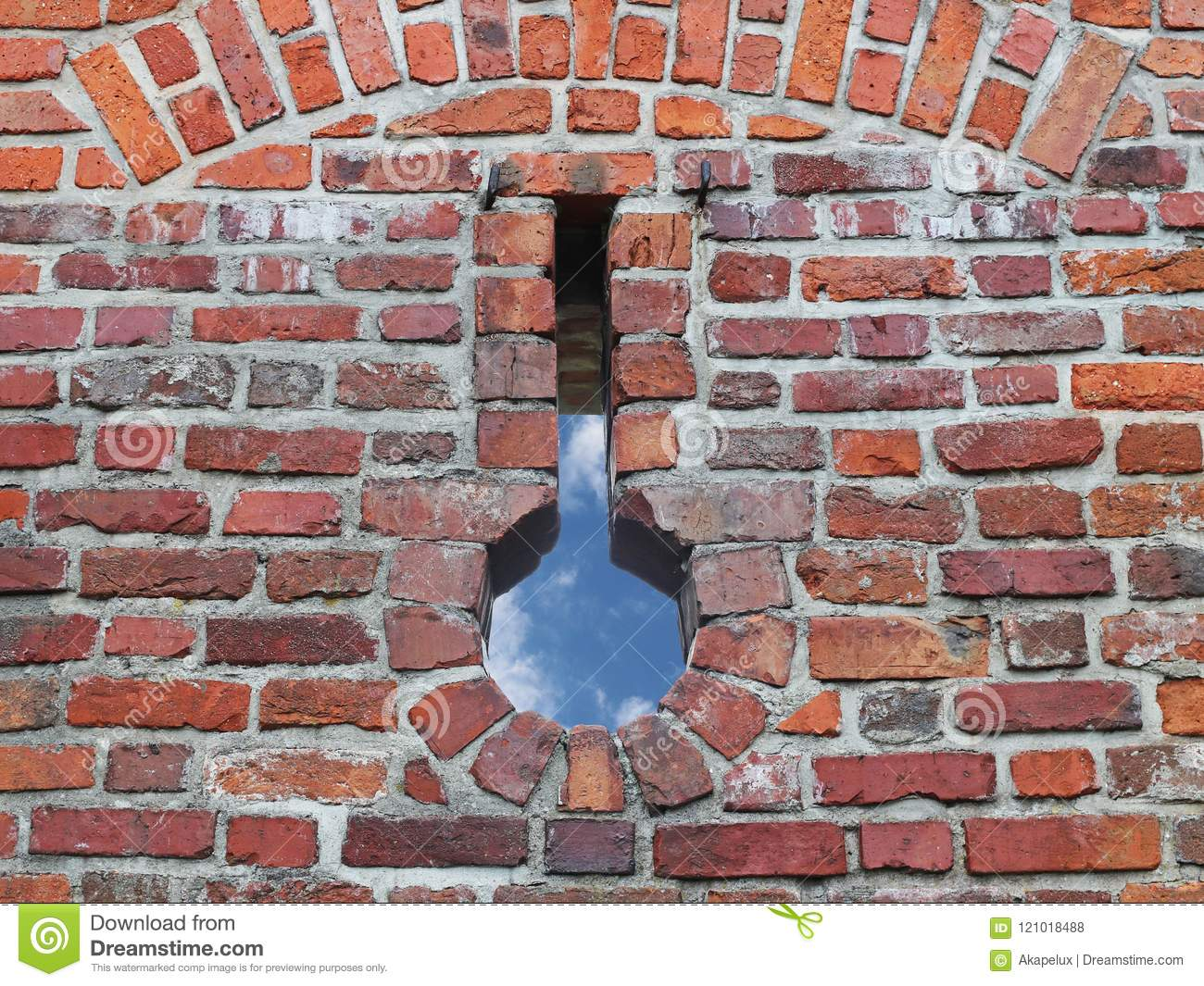 Ancient medieval brickwork with a slaughterhouse. Texture of a fragment of a wall of an old structure. A background for design and
