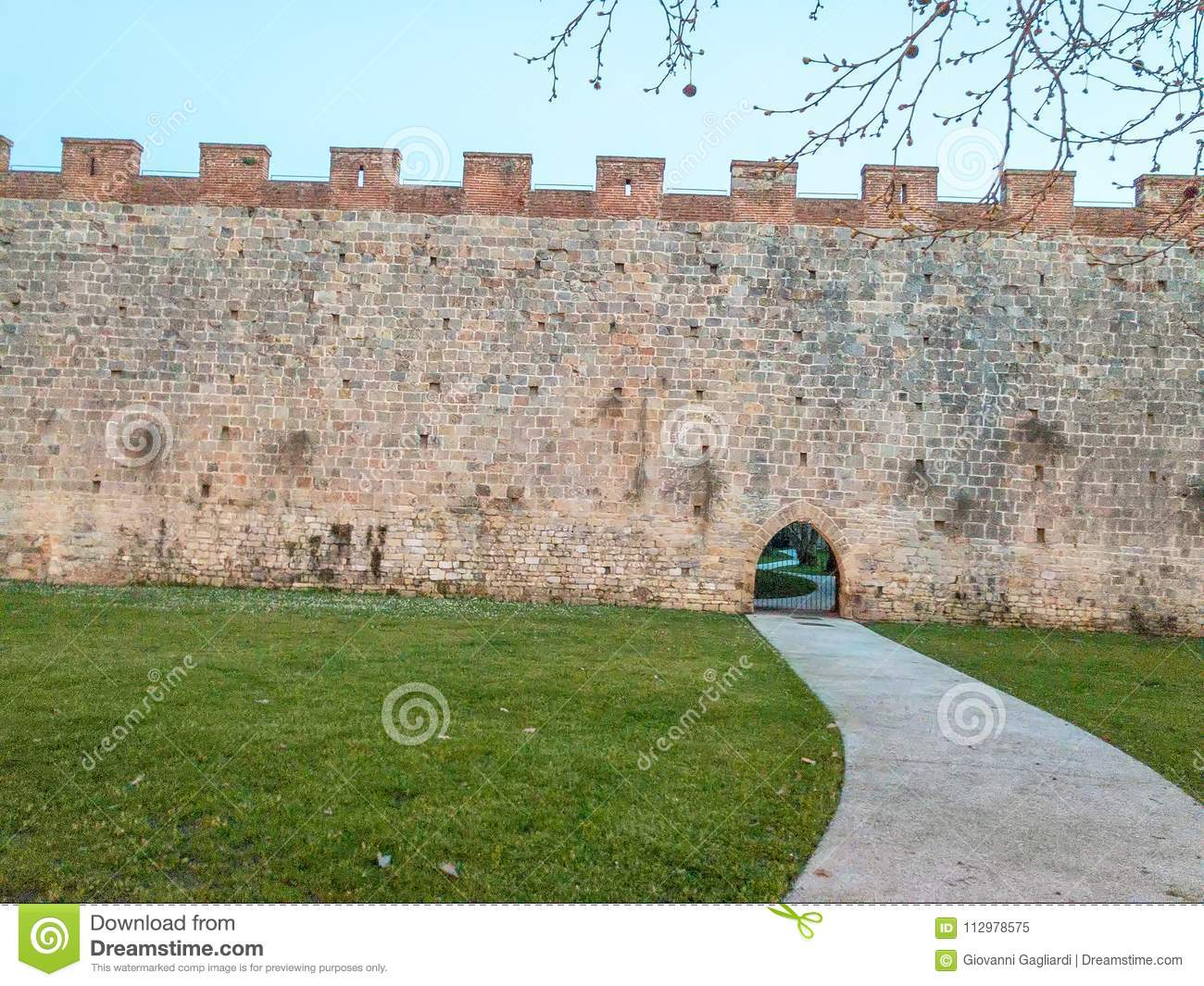 Ancient medieval walls of Pisa, Italy