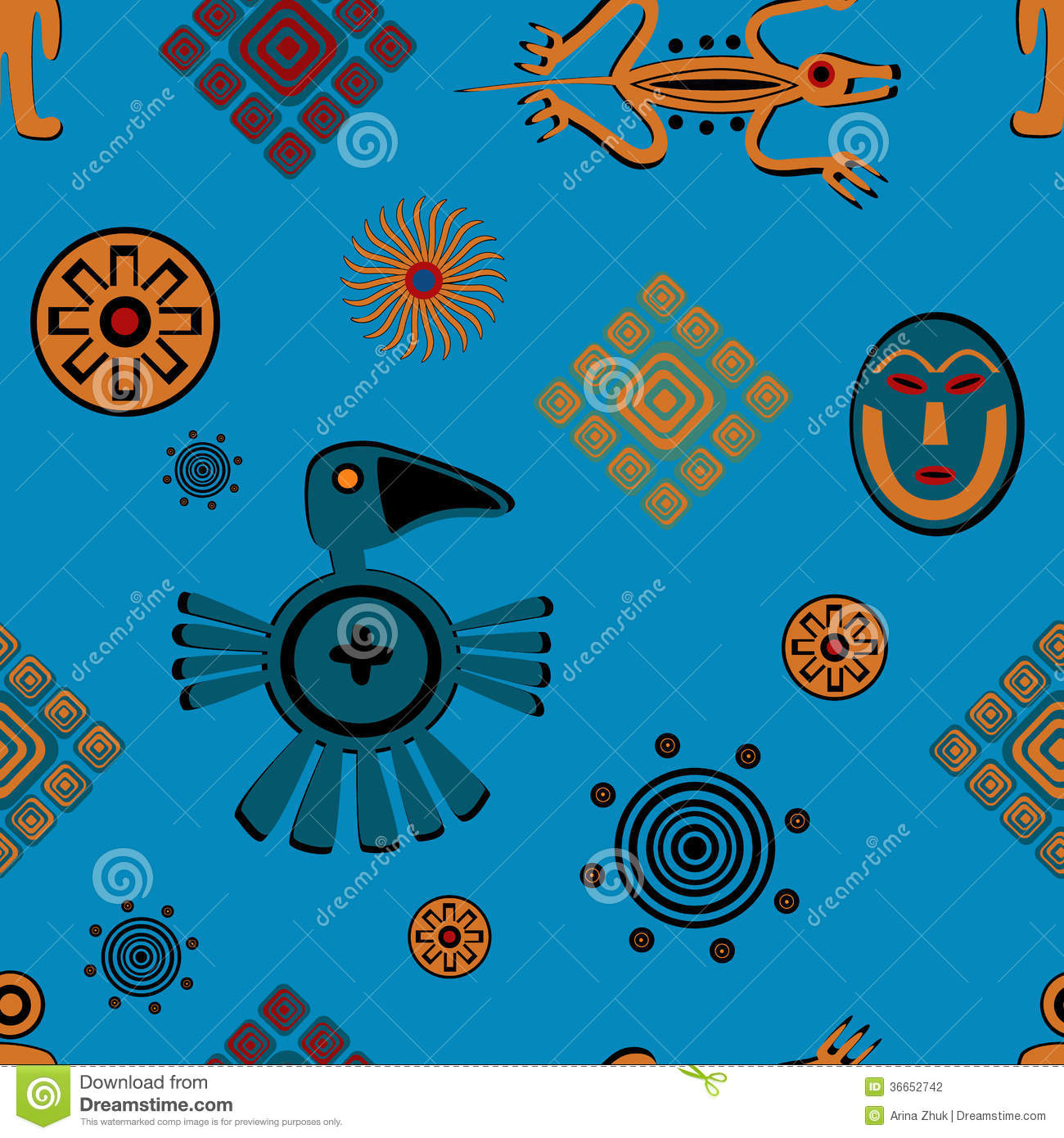 Ancient Mexican Style Pattern Stock Vector Illustration Of Native