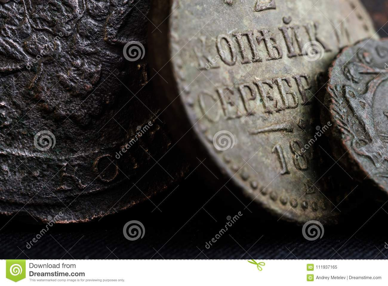 Ancient Money Of The 18th Century In Russia Close Up Of Coins