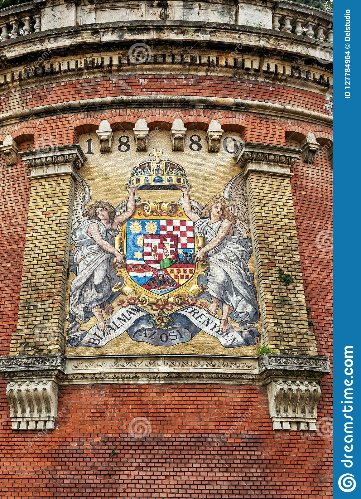 Ancient mosaic coat of arms of Kingdom of Hungary in Budapest