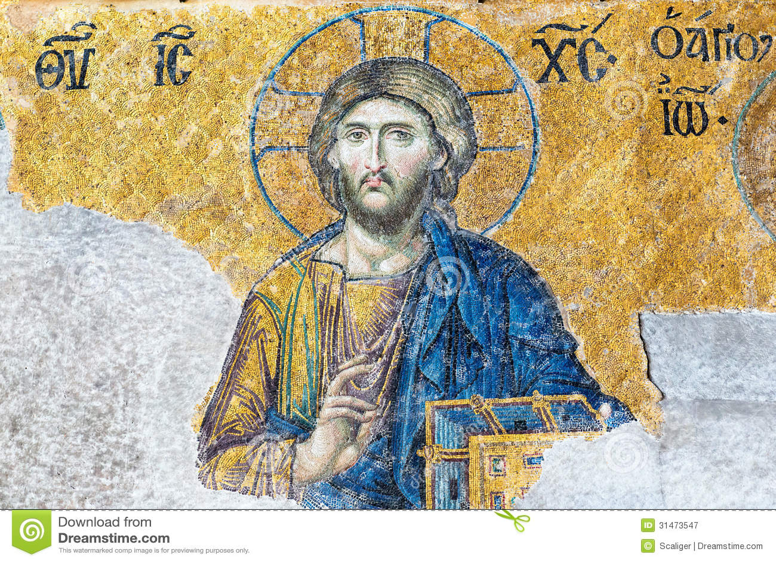 Mosaic Interior In Hagia Sophia At Istanbul Turkey Royalty