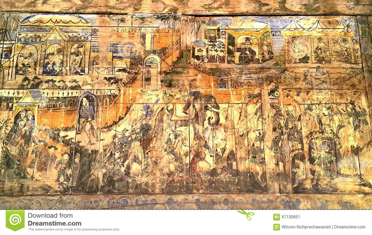 Ancient mural painting in lampang thailand stock photo for Average cost of mural painting