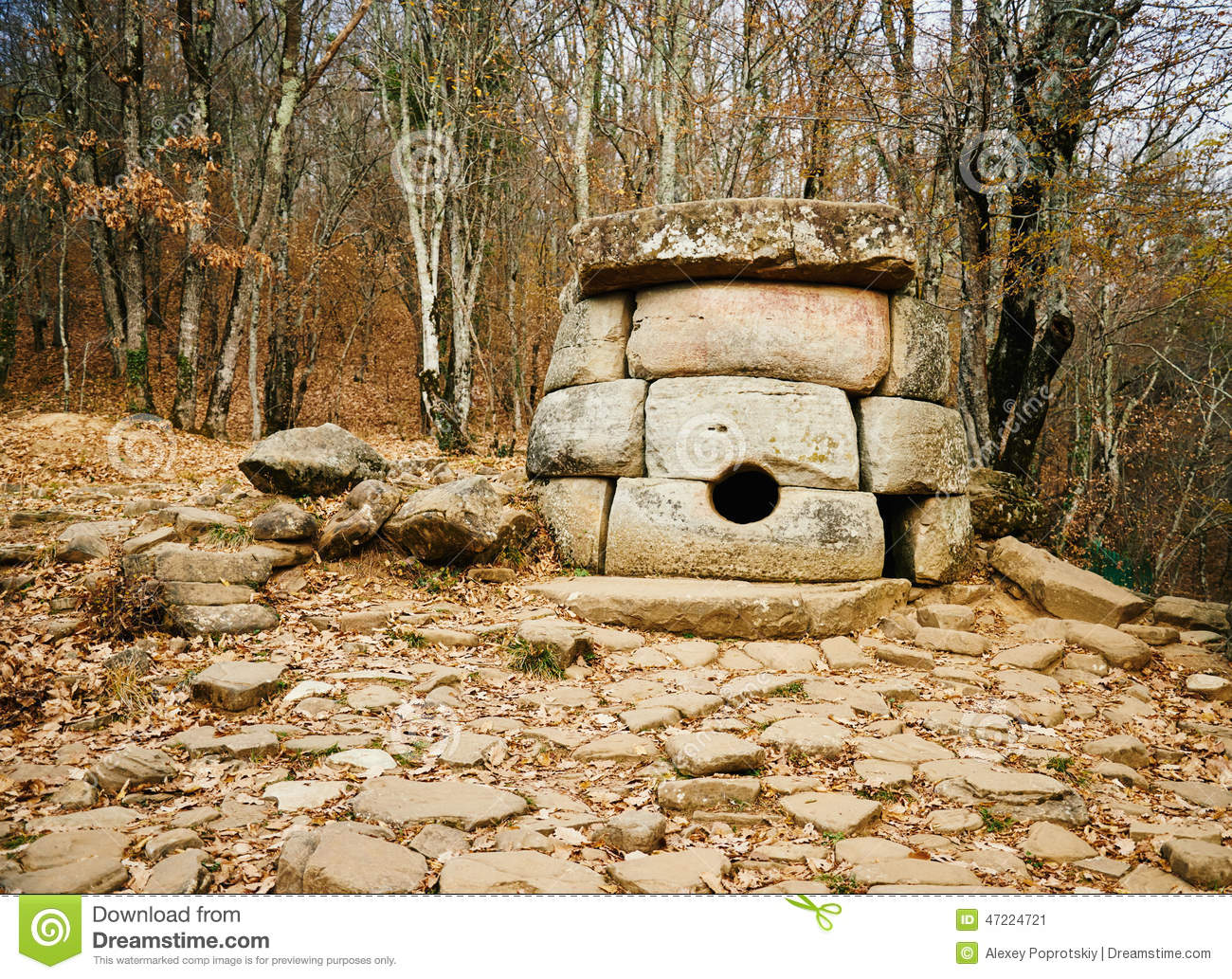 Ancient Mystery Stone Dolmen In North Western Caucasus