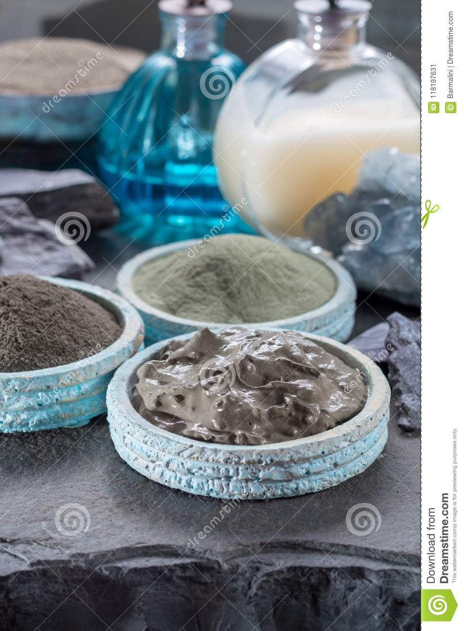 Ancient nature minerals, different types of clay used for skincare, spa treatments, face masks, gray, black, green and blue