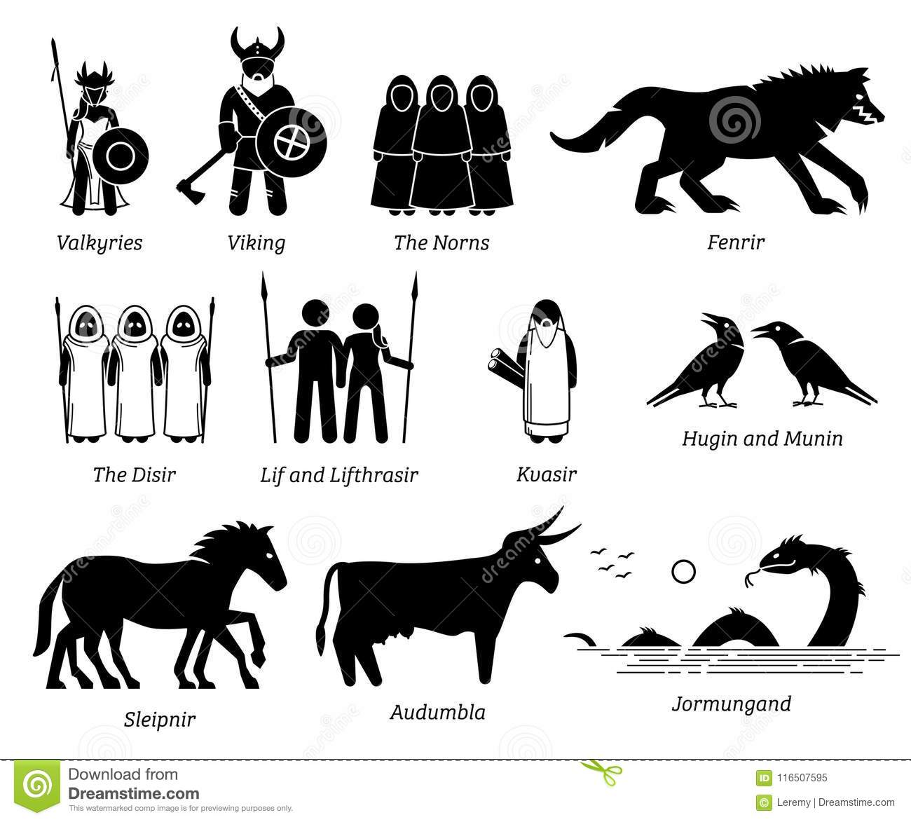 Ancient Norse Mythology People, Monsters And Creatures ...