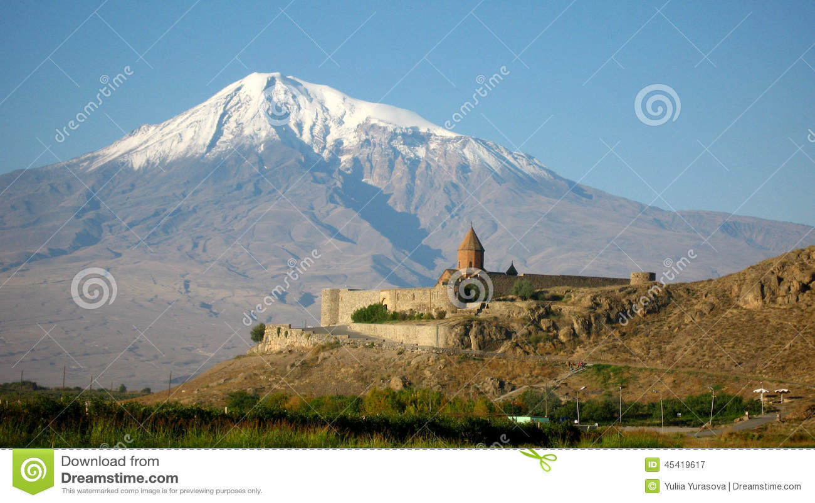 Ancient orthodox stone monastery in Armenia, Khor Virap and Mount Ararat