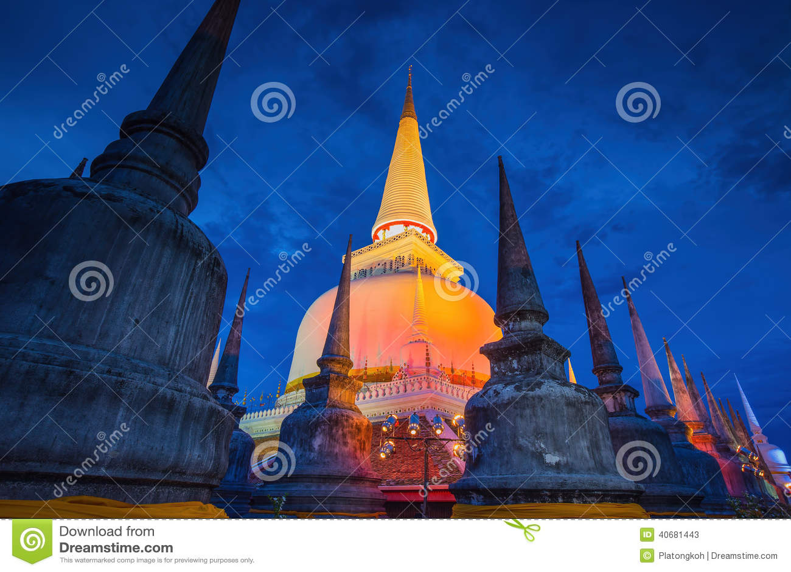 Ancient Pagoda In Wat Mahathat Temple  Night Scene Nakhon