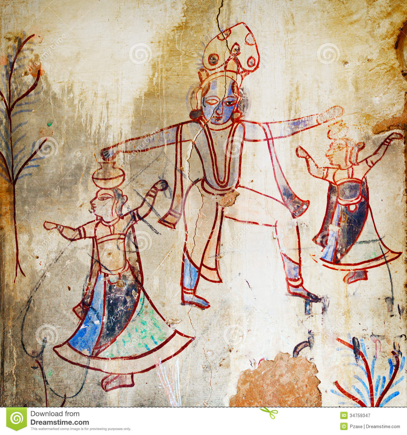 Ancient Paintings In An Abandoned Provincial Temple. India