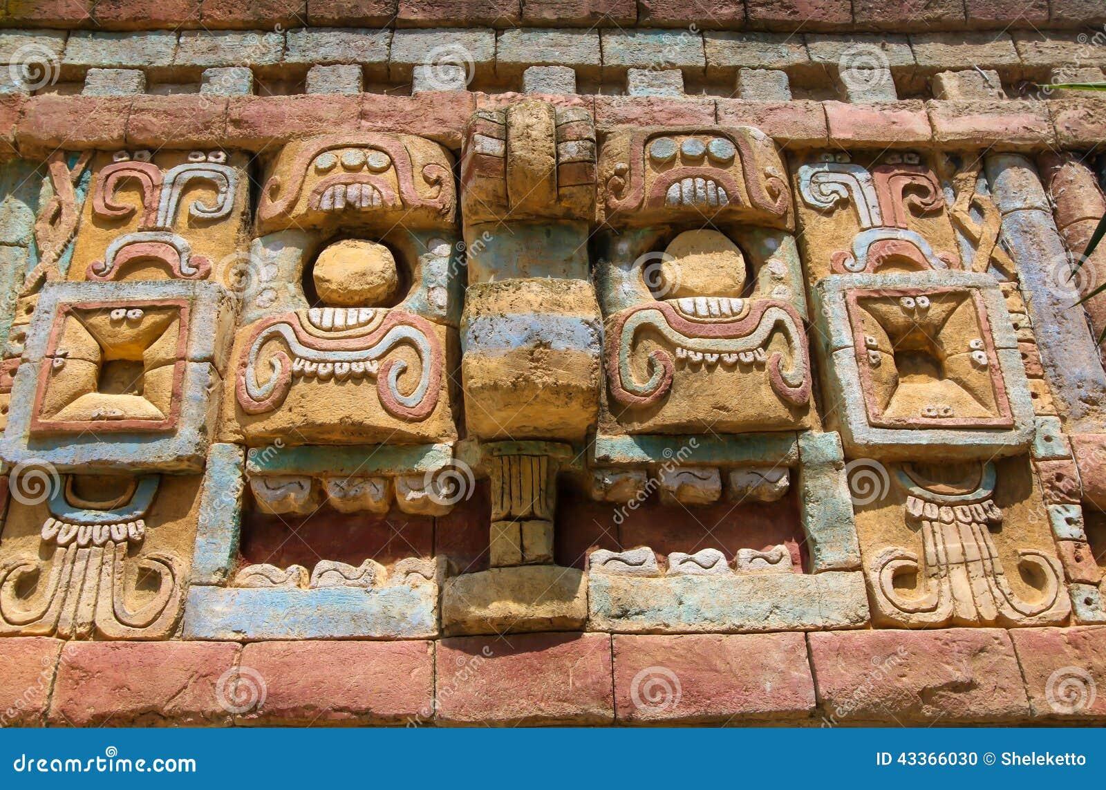 Ancient maya art wall pattern stock photo image