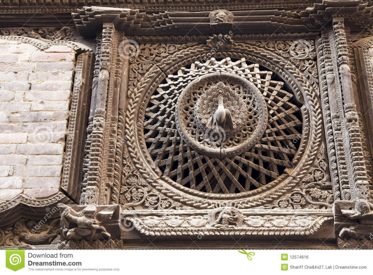 Ancient peacock window bhaktapur nepal royalty free for Window design in nepal