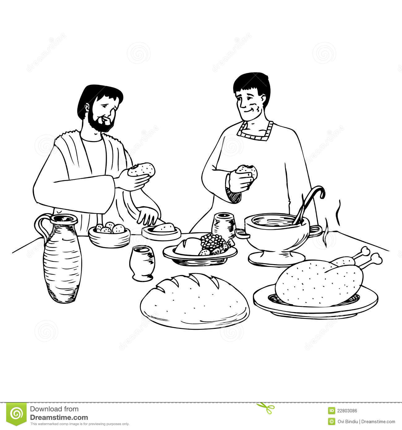 Ancient people eating at the table stock illustration for Eating table