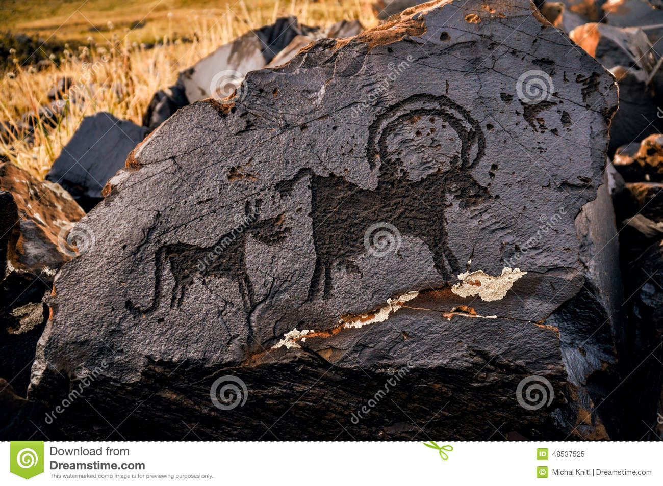 Ancient Pictogram Stock Photo Image 48537525