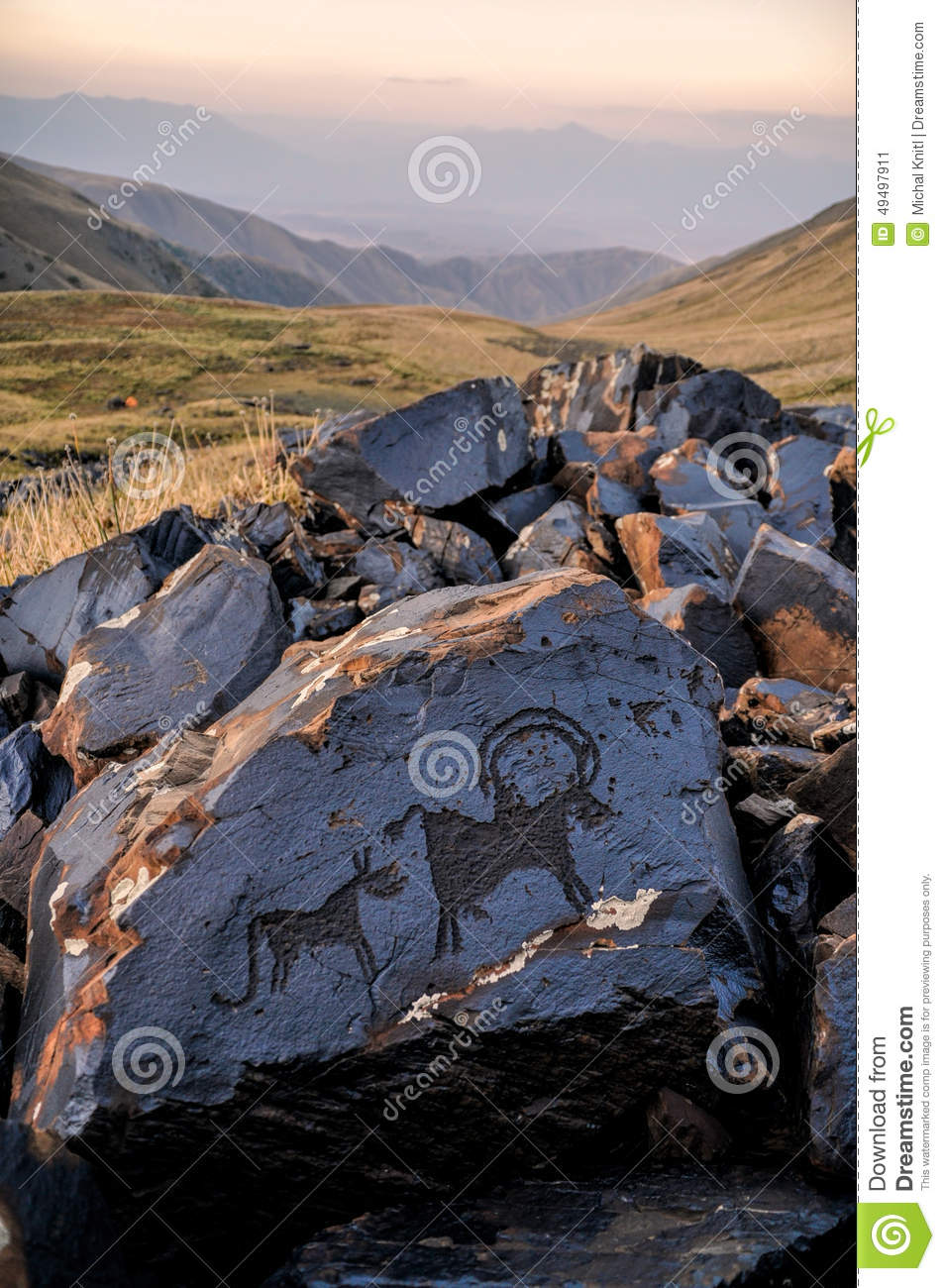 Ancient Pictograms Stock Photo Image 49497911