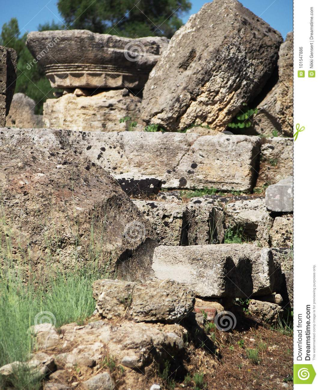 Ancient Ruins Olympia Greece Stock Photo - Image of europe