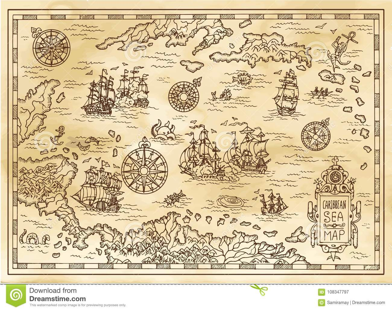 Ancient Pirate Map Of The Caribbean Sea With Ships, Islands And ...