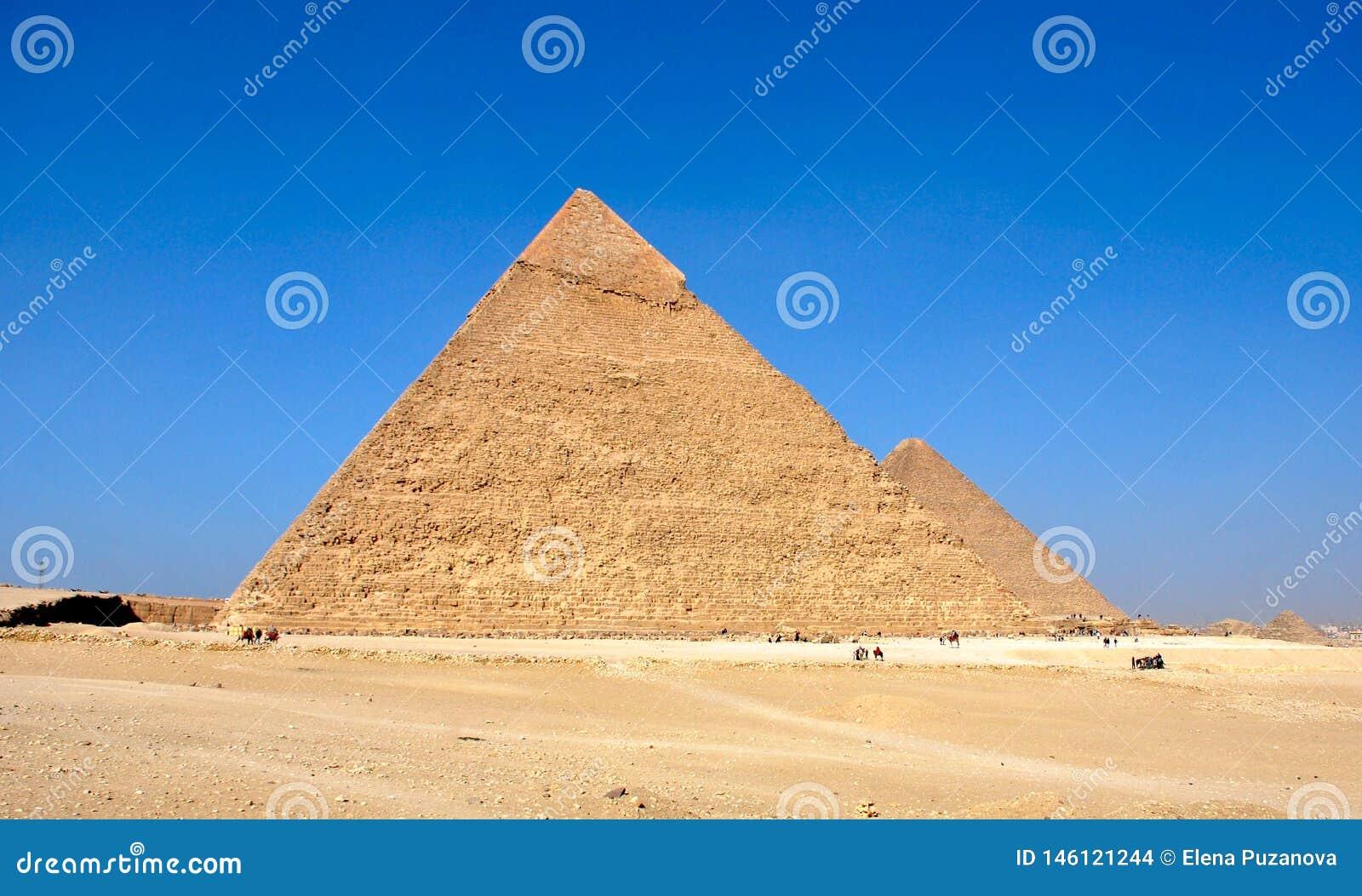 Ancient pyramids of Giza near Cairo Egypt