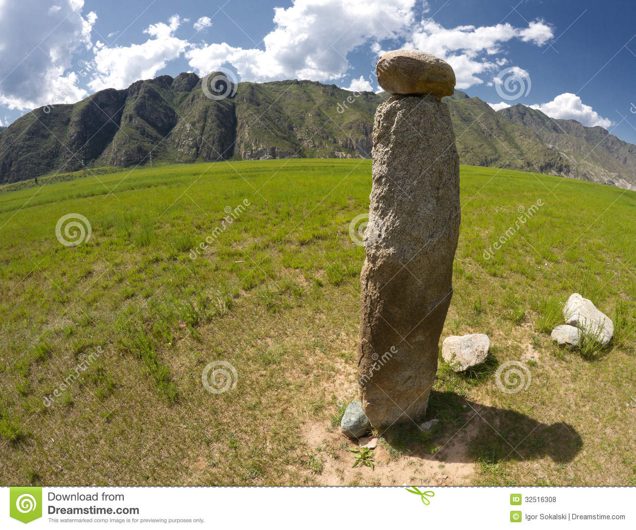 Ancient reindeer stone altai stock photo image