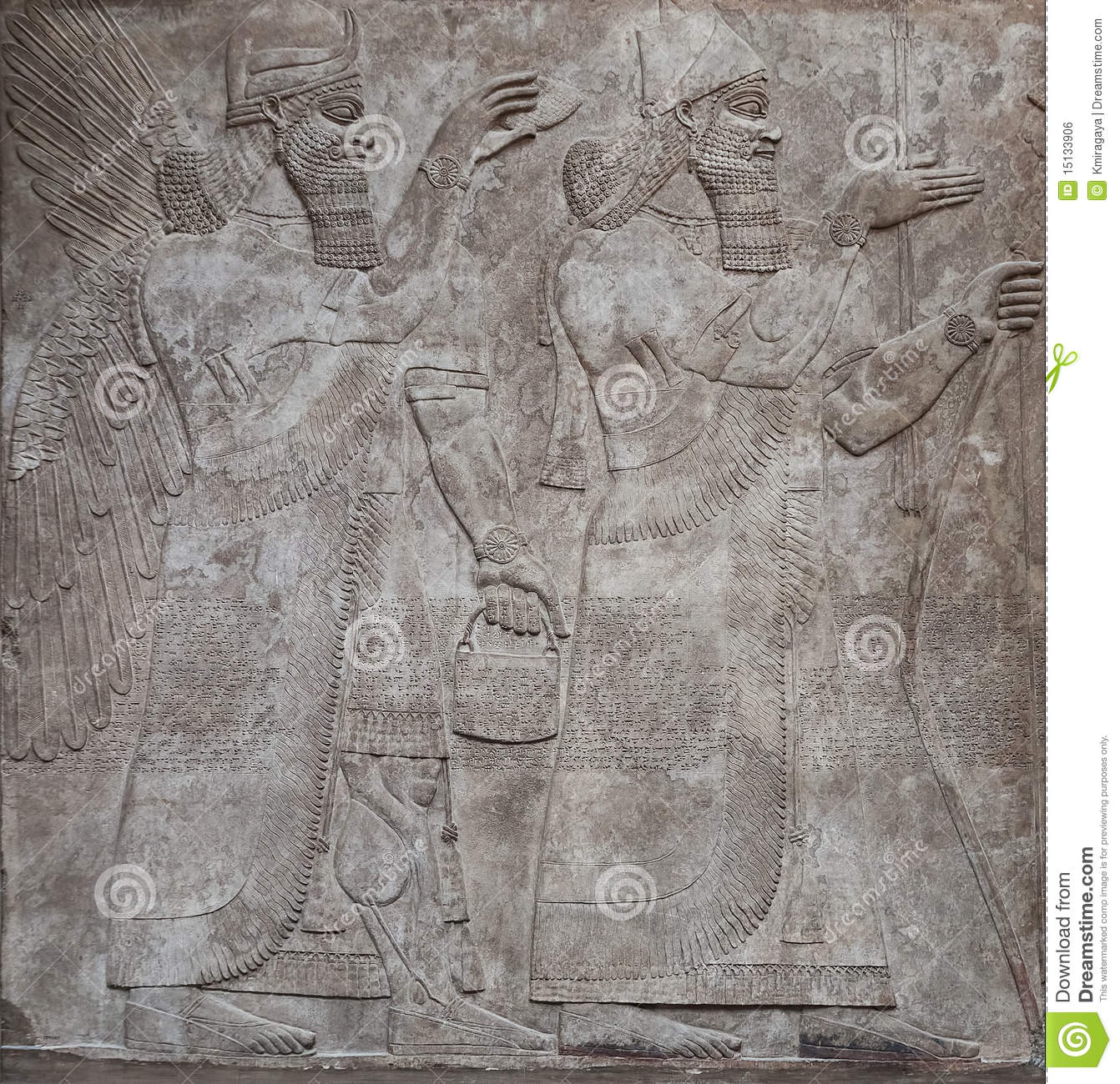 Ancient relief of assyrian gods or warriors Assyrian Gods