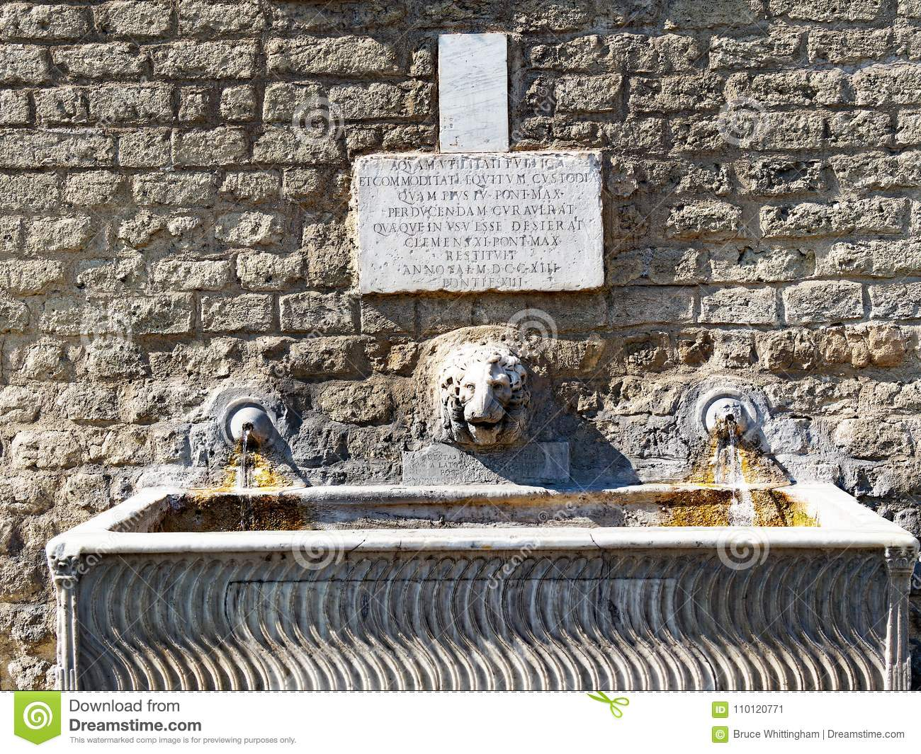 Ancient Rome Drinking Fountain Italy Stock Image Of Trough 110120771