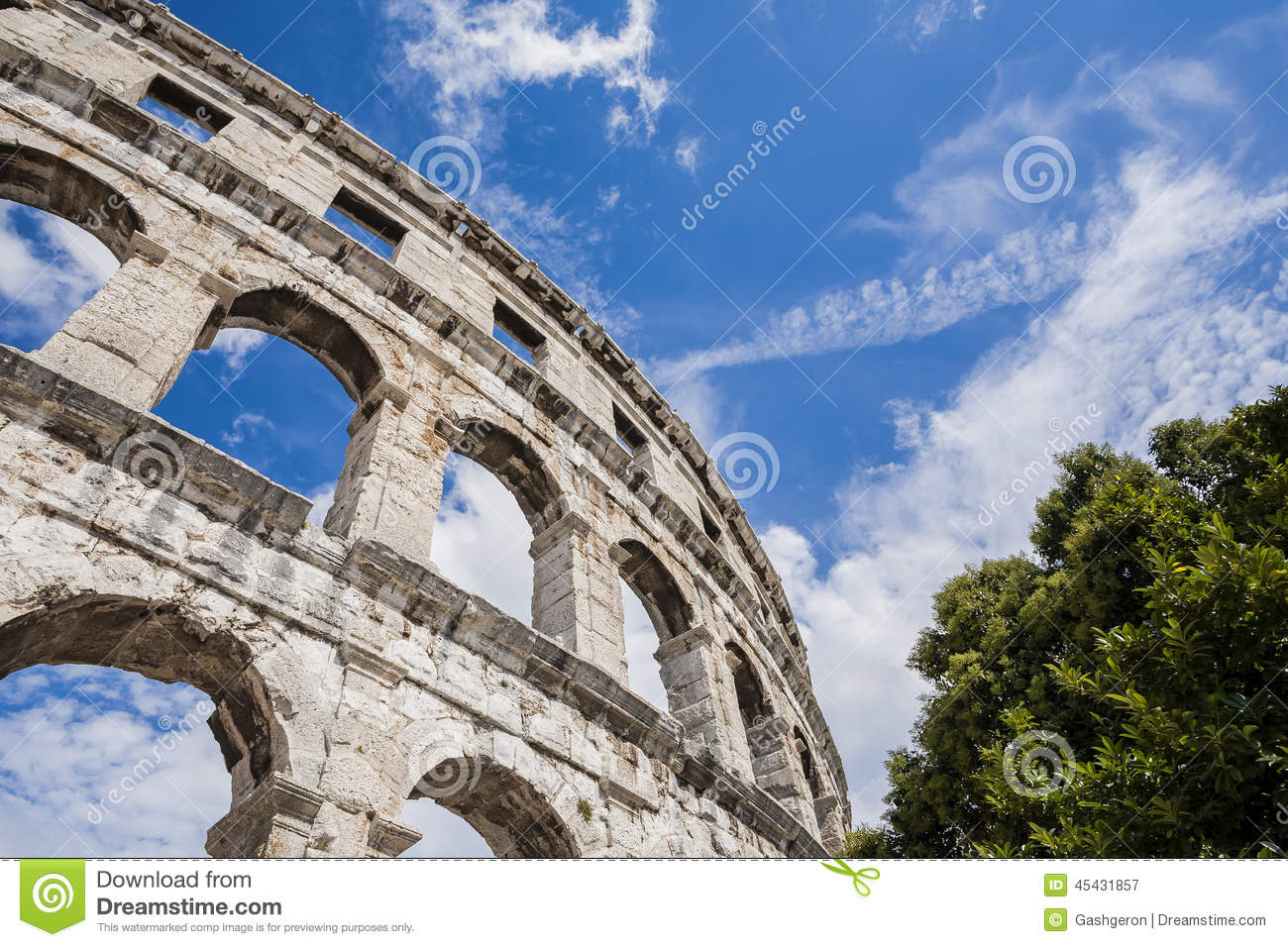 Ancient Roman Amphitheater The Colosseum In Pula Croatia Holidays