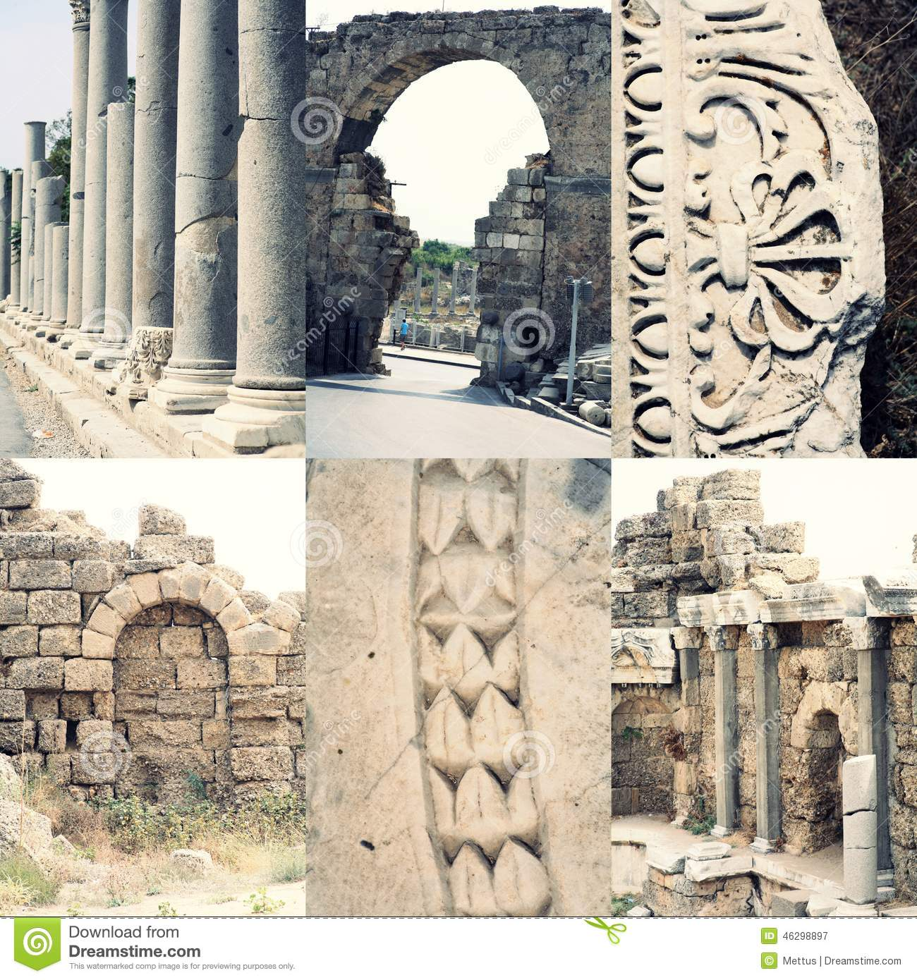 Ancient Roman Architecture Ruined Buildings With Stock Photo