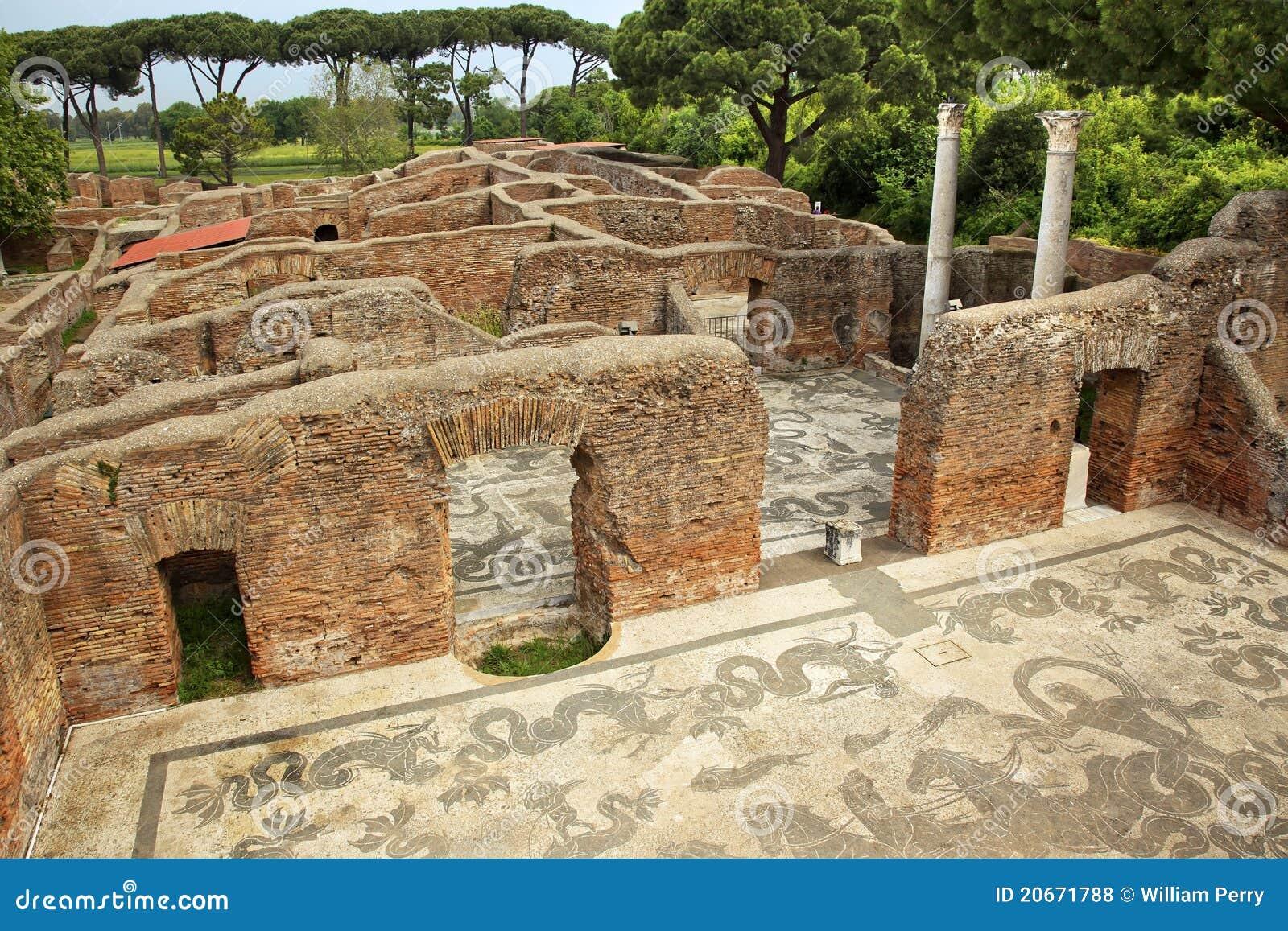 Ancient roman baths mosaic ostia antica rome royalty free for Mr arredamenti ostia antica