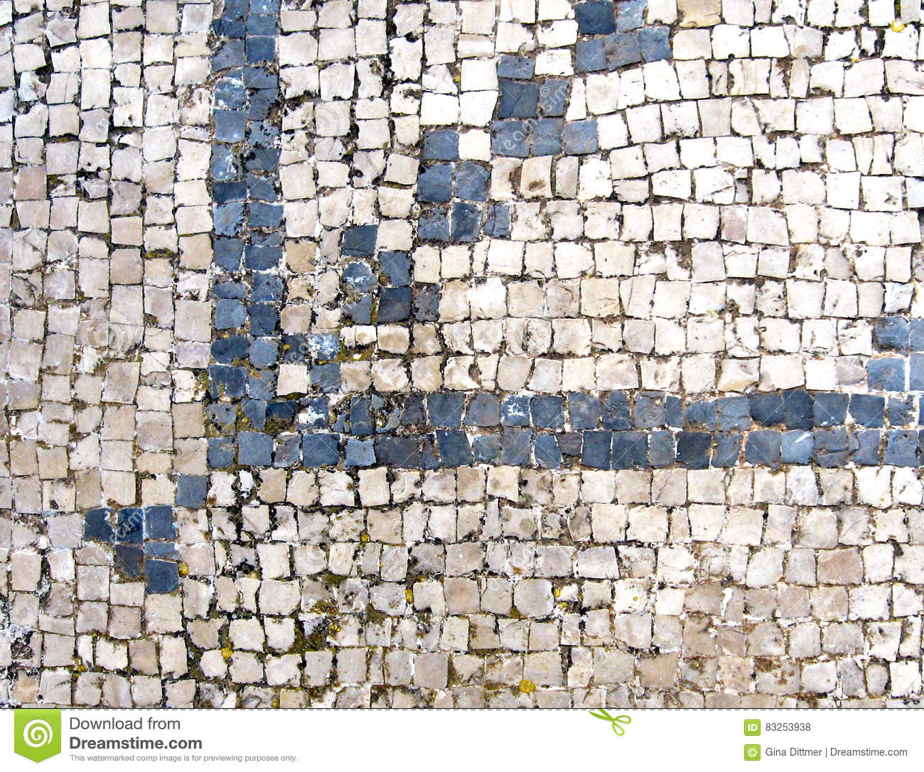 Ancient Roman Blue And White Mosaic Floor Tiles In Archaeological