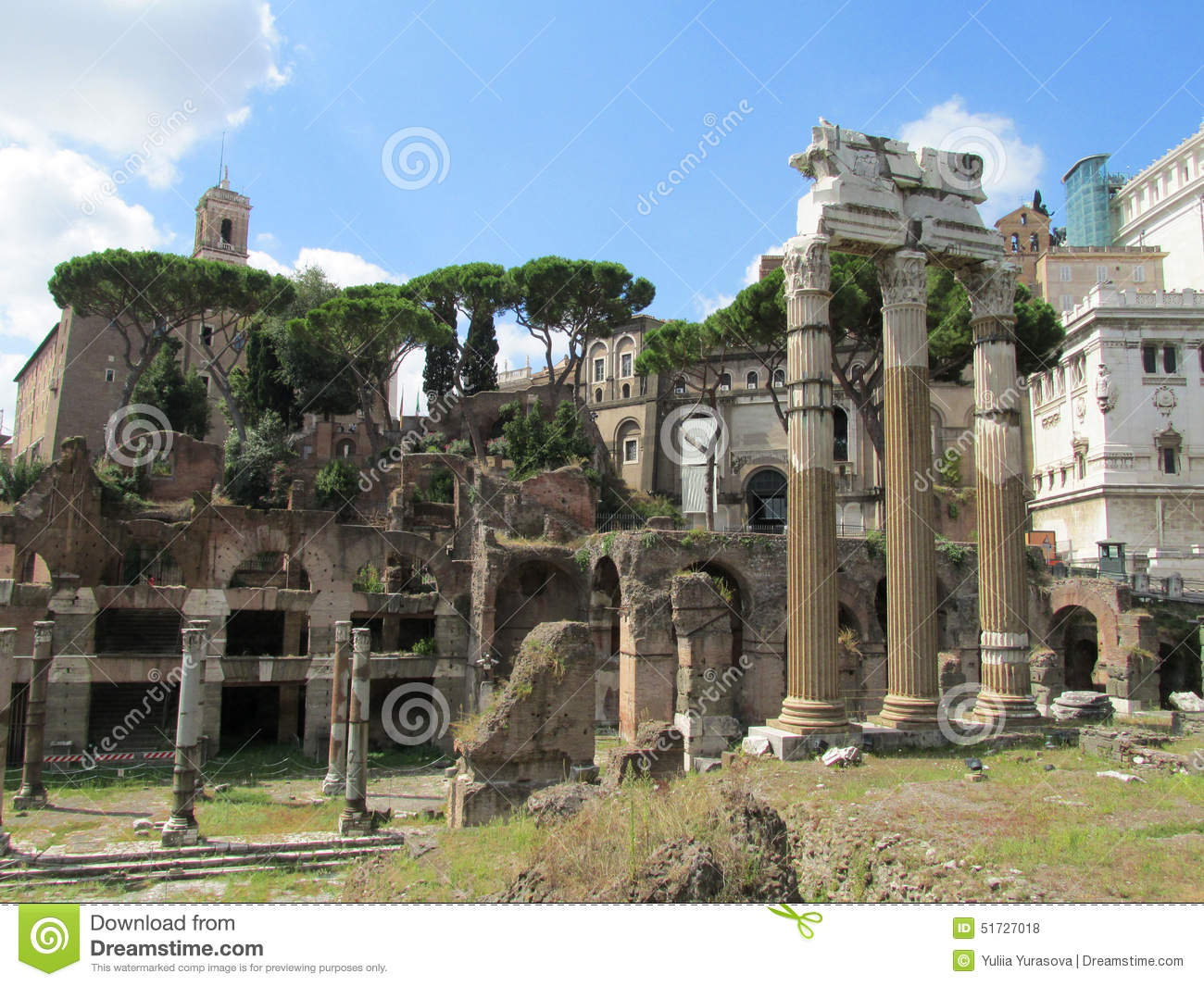 Ancient Roman Forum Ruins In Rome Stock Photo Image