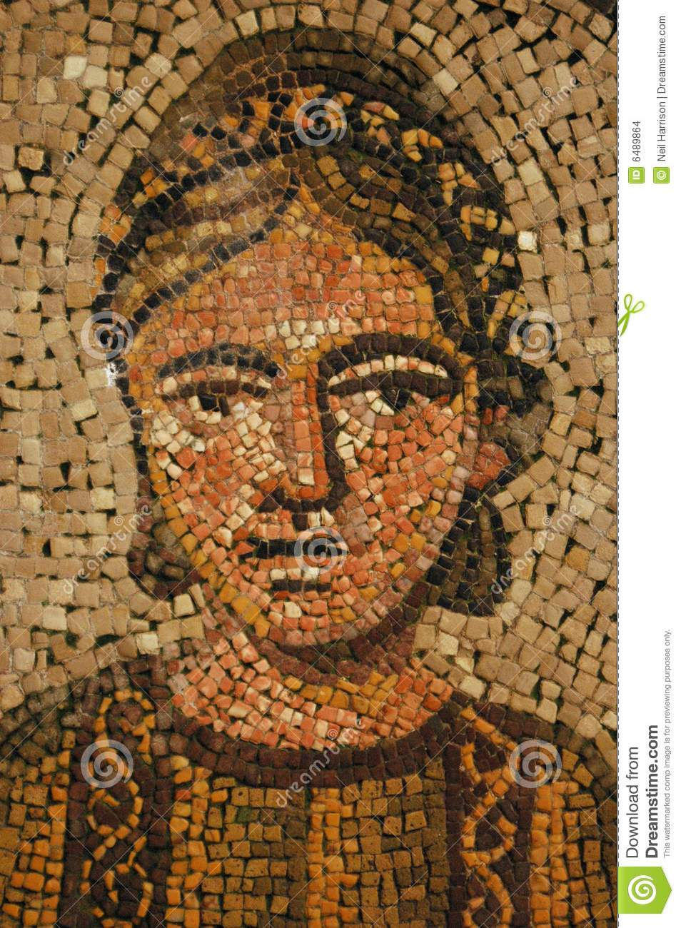 Ancient Roman Mosaic Of Young Woman Stock Images Image