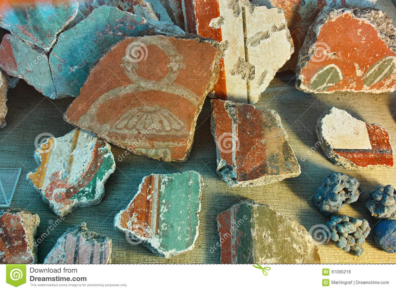 Pieces of ancient Roman mural painting
