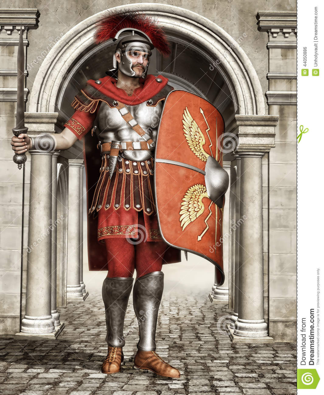 Ancient Roman soldier with a sword and shield, standing at the city ...
