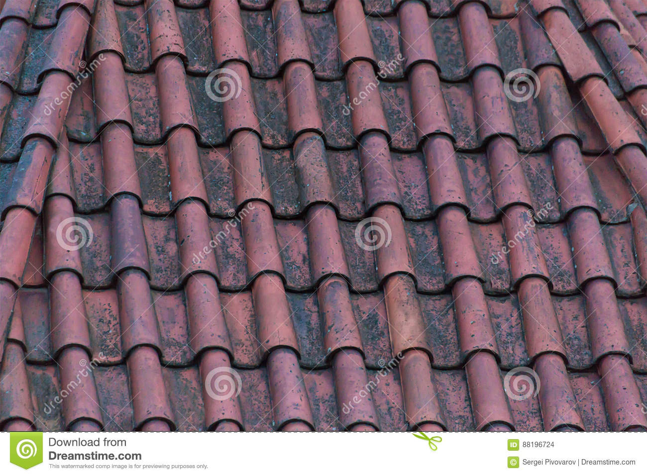 Ancient Roof Terracotta Red Color On House Background Base