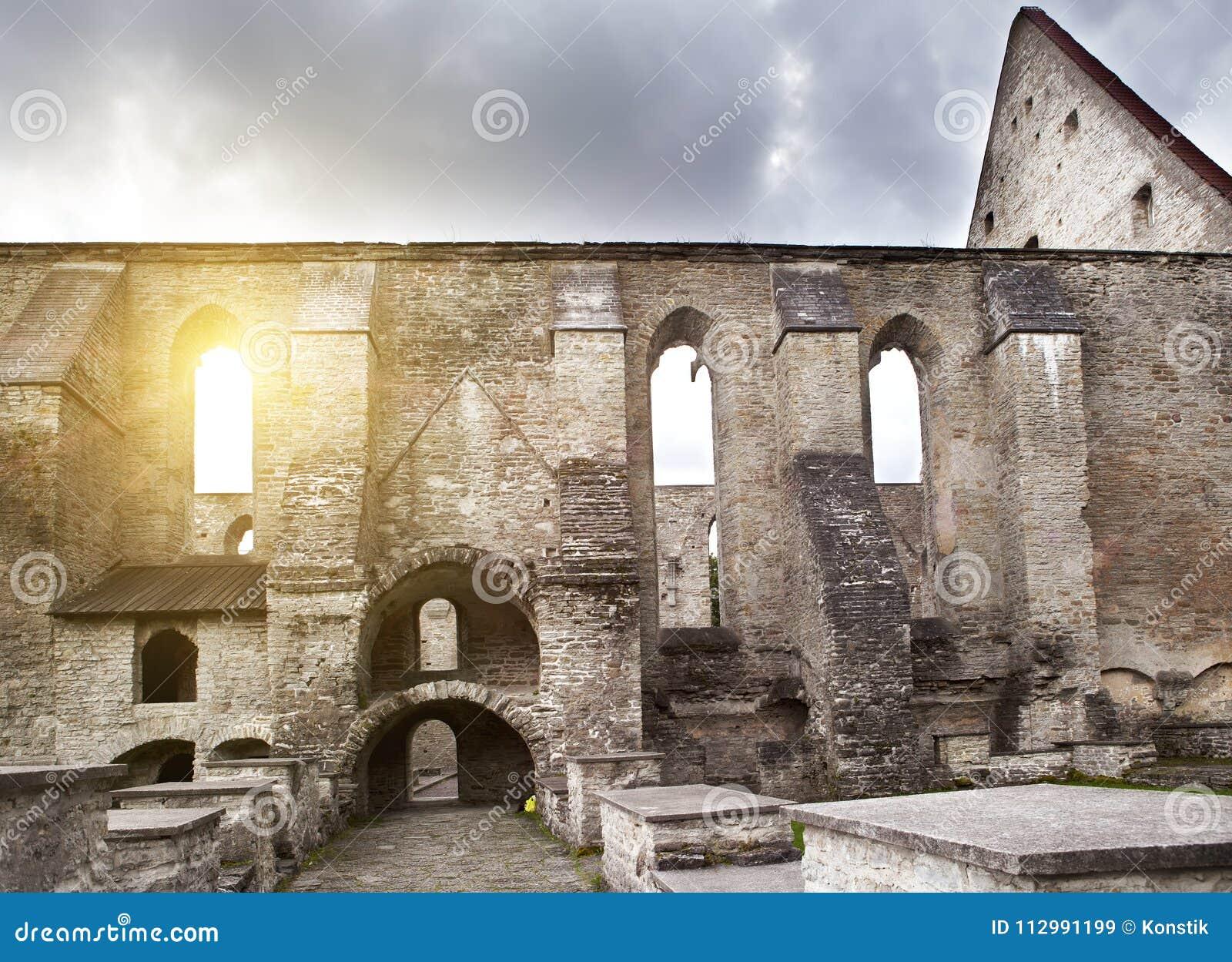 Ancient ruined St. Brigitta convent 1436 year in Pirita region, Tallinn, Estonia