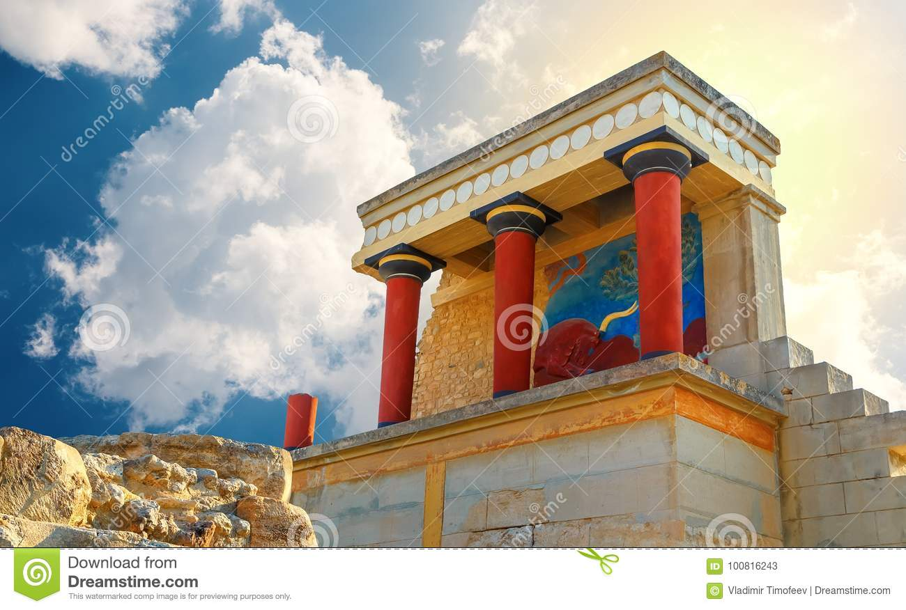 Ancient ruines of famouse Knossos palace at Crete, Greece,