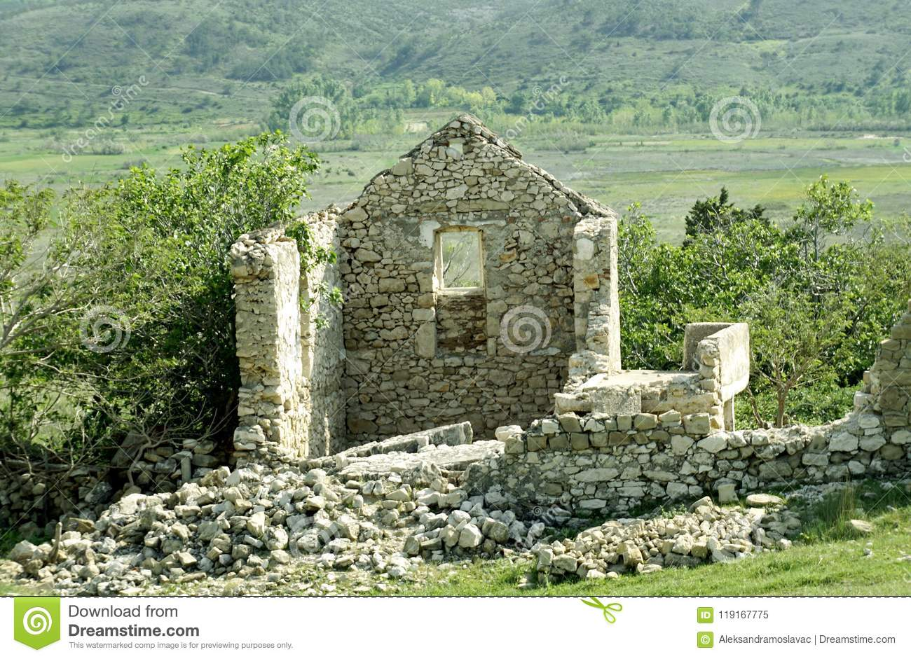 Ancient ruins in the field on the Croatian island of Pag