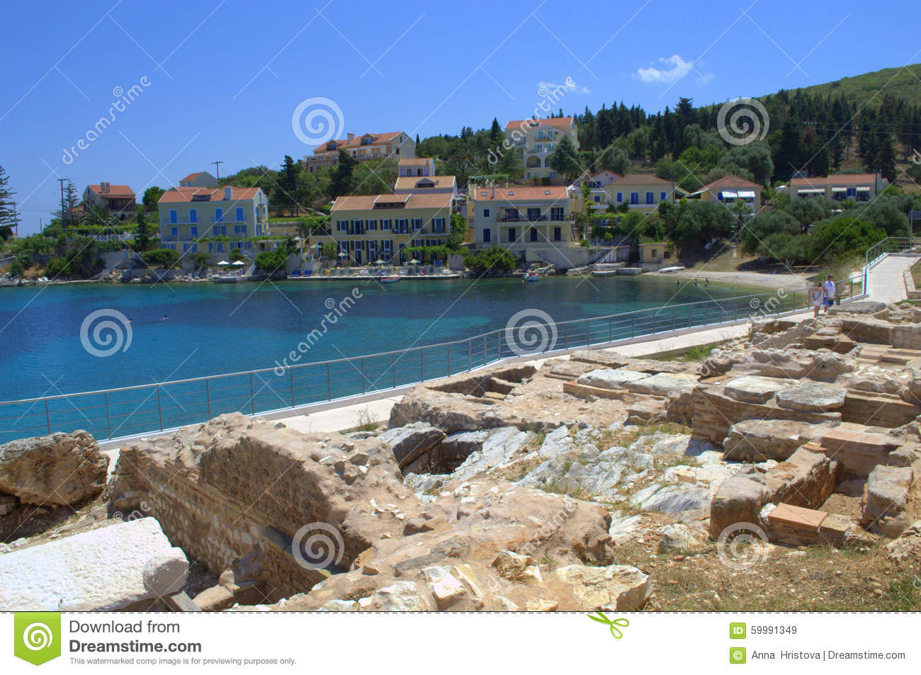 Editorial Stock Image Ancient Ruins Greek Island Coast Archaeological Site Roman Transparent Clear Blue Water Ionian Sea Beach Vacationers Image59991349 on Ancient Greek Houses