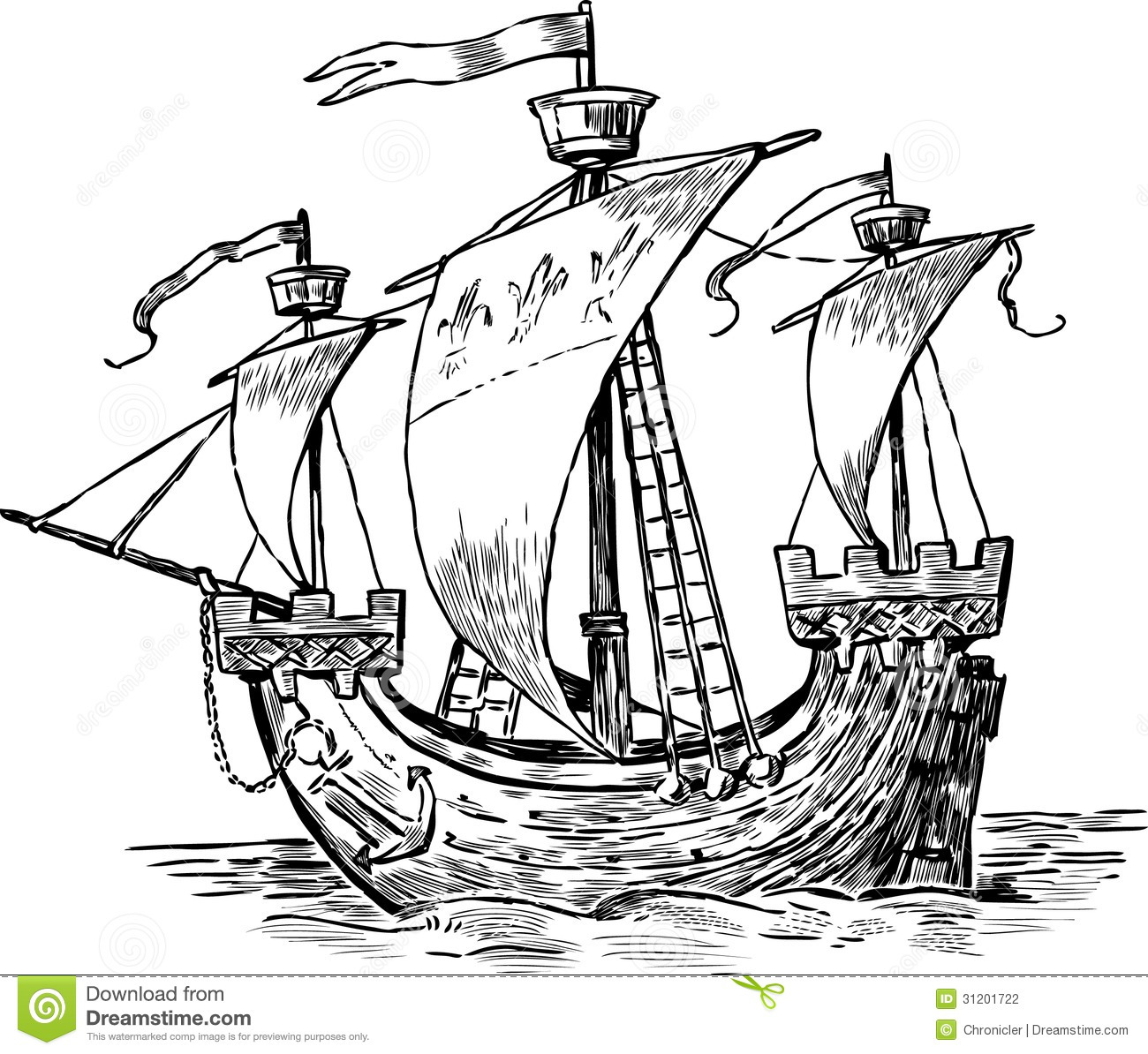 Stock Photography Ancient Sailboat Vector Drawing Old Ship Under Sail Image31201722 on sail cartoon clip art
