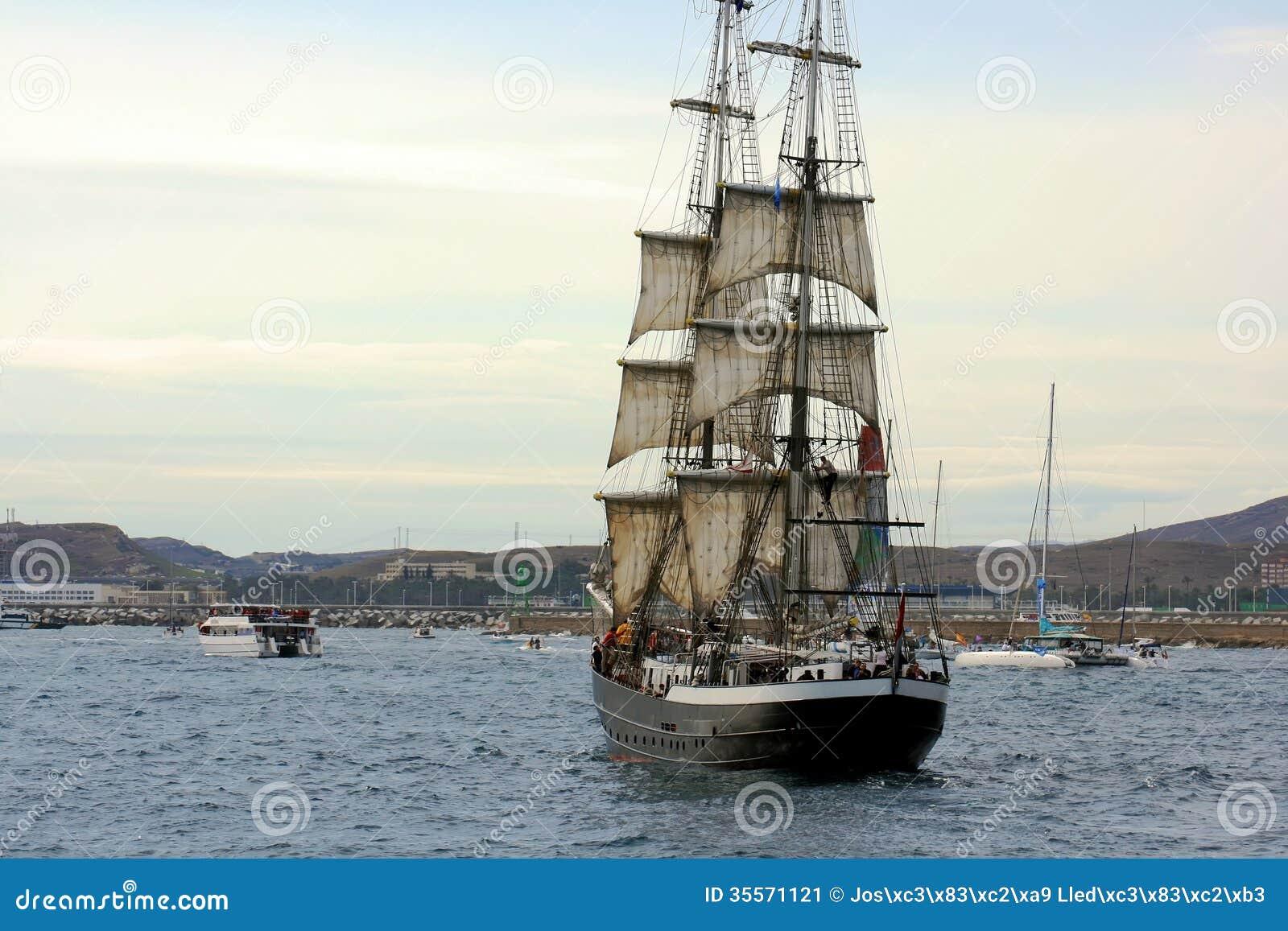 Ancient Sailing Boat Stock Image - Image: 35571121