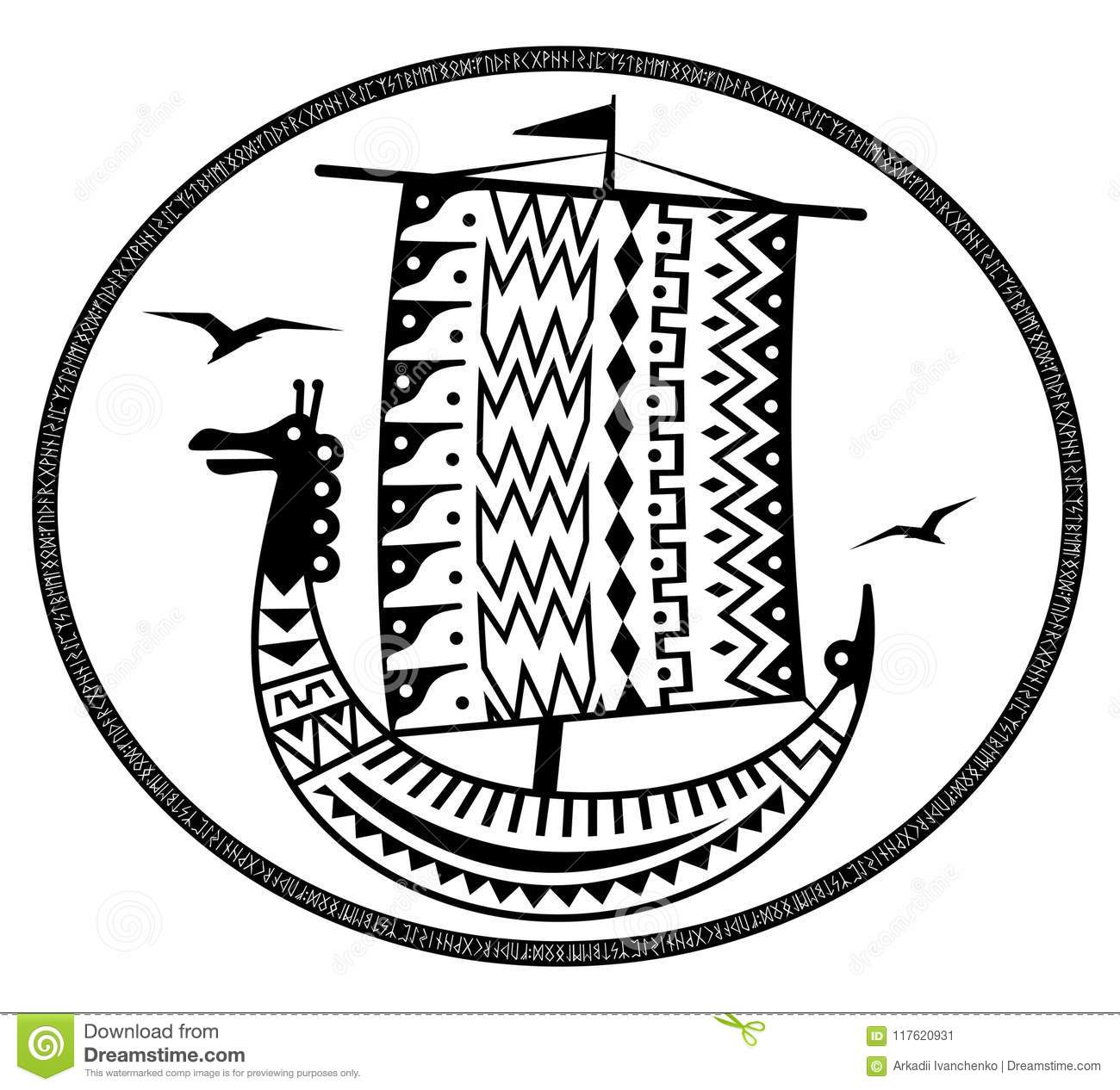 An Ancient Scandinavian Image Of A Viking Ship Decorated With An