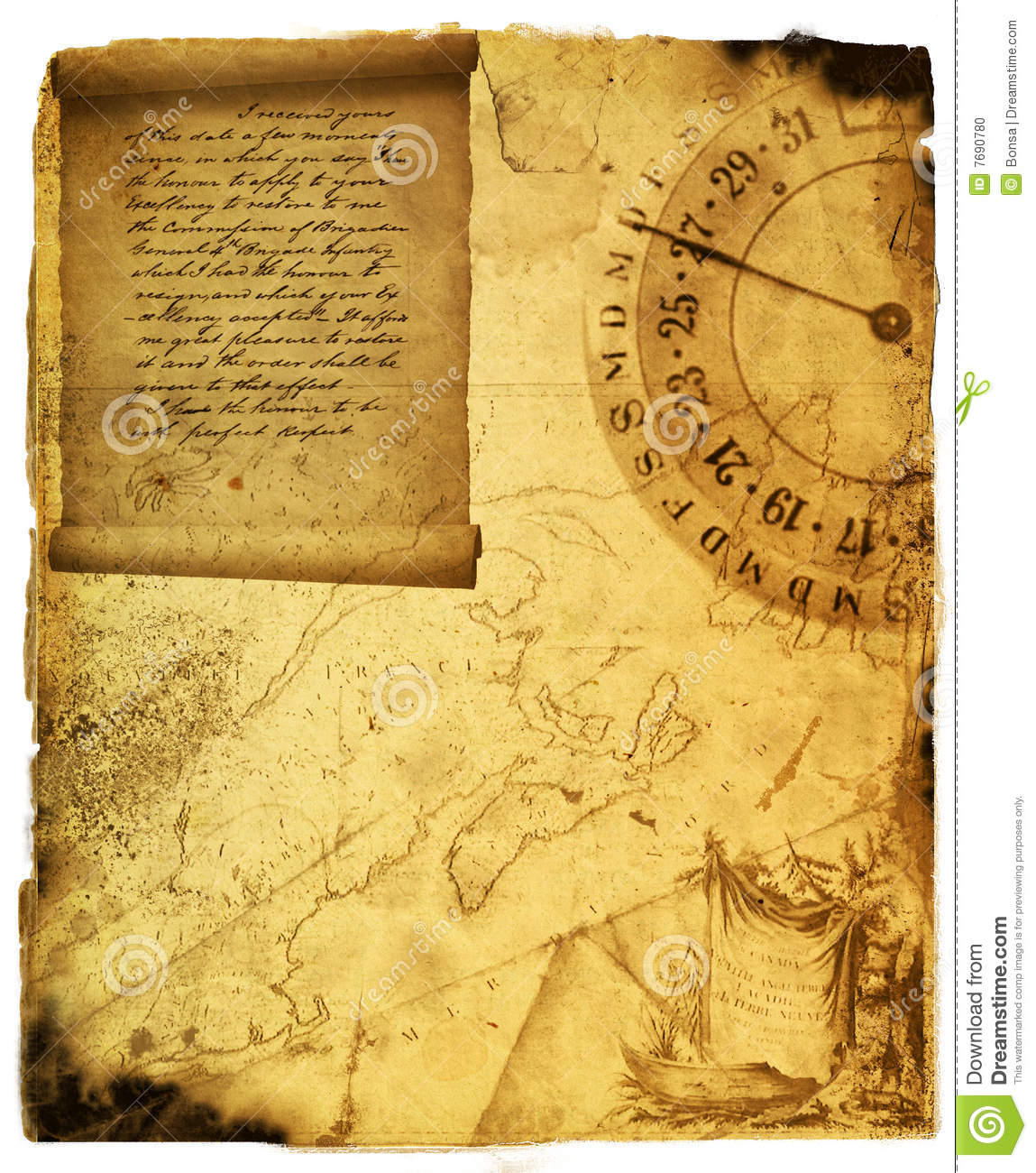 Antique Scroll Map: Ancient Scroll Stock Photo