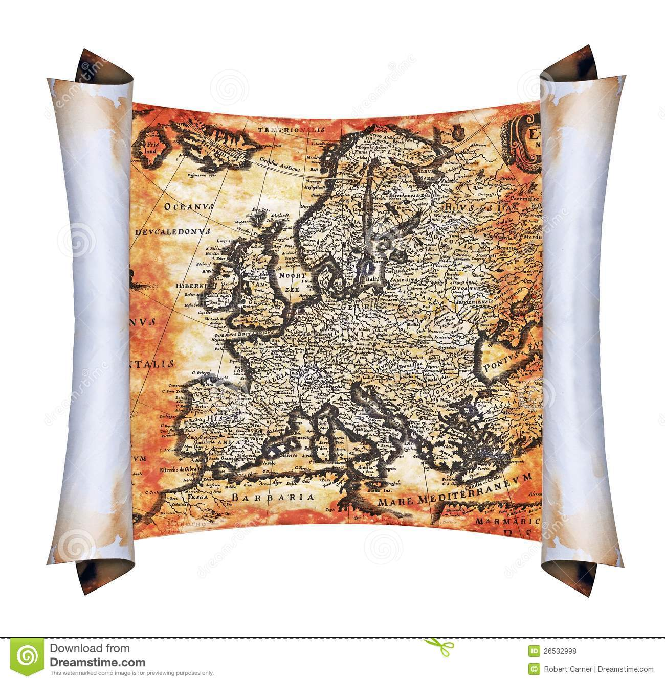 Ancient Scroll: Ancient Scroll Map Of Europe Royalty Free Stock Photos