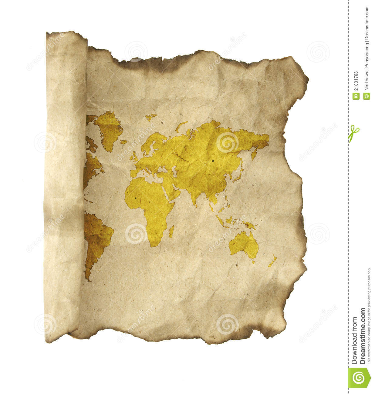 Antique Scroll Map: Old Vintage Scroll With The World Map Isolated On Royalty