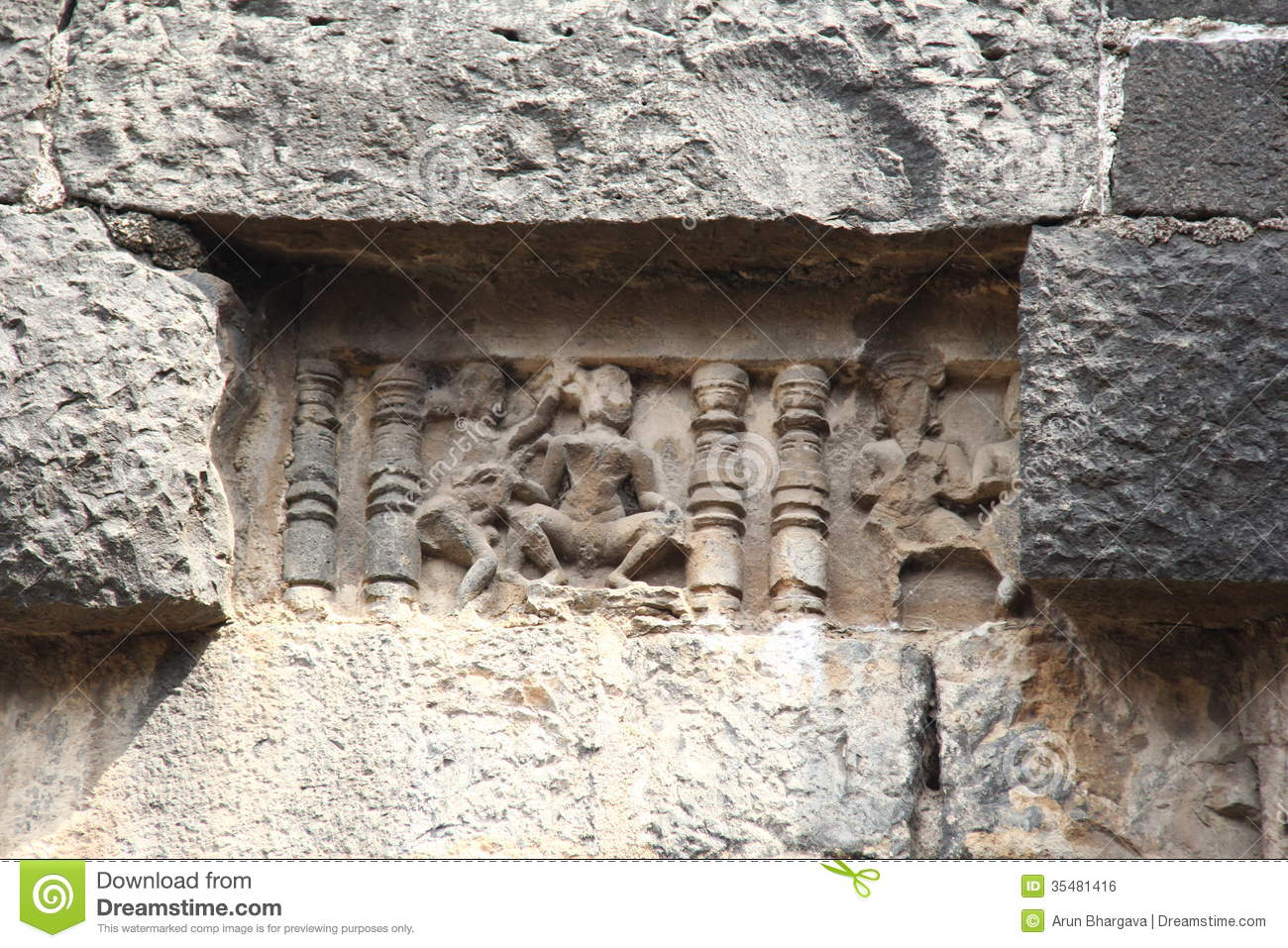 Ancient Sculpture On Fort Wall Stock Photo Image 35481416