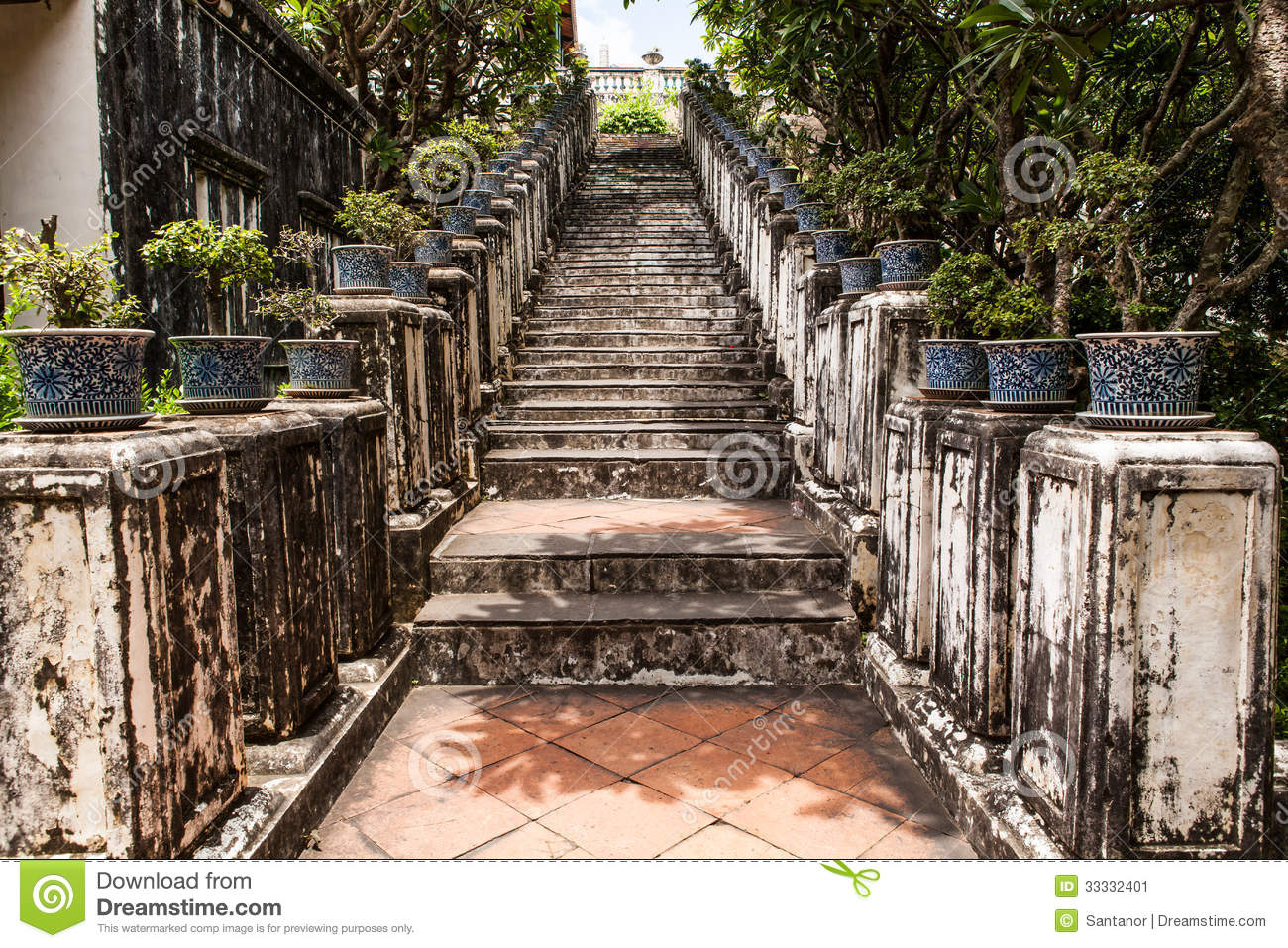 Ancient Stair At Thailand Palace Stock Image
